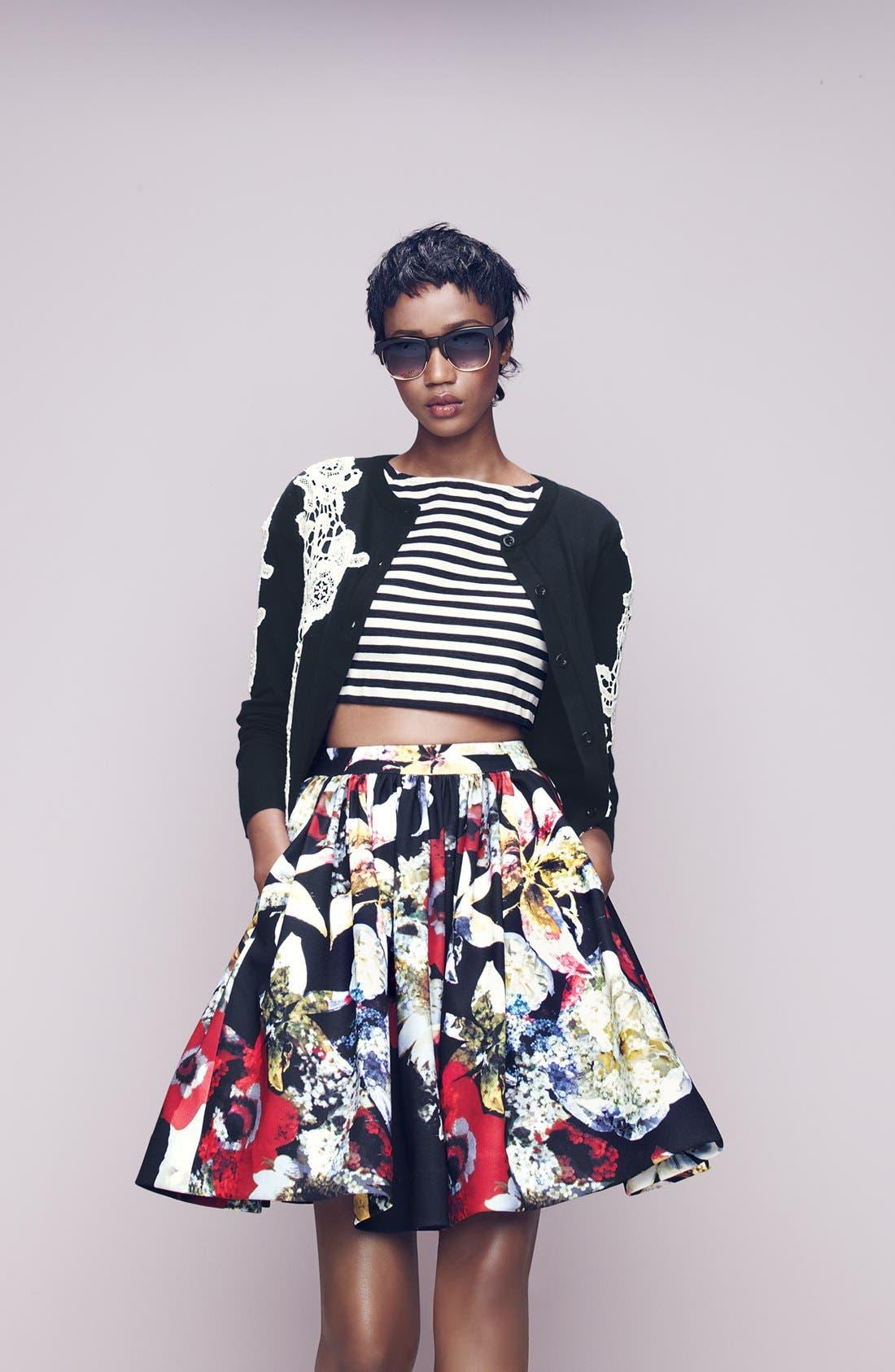 Main Image - Alice + Olivia Cardigan, Crop Top & Skirt