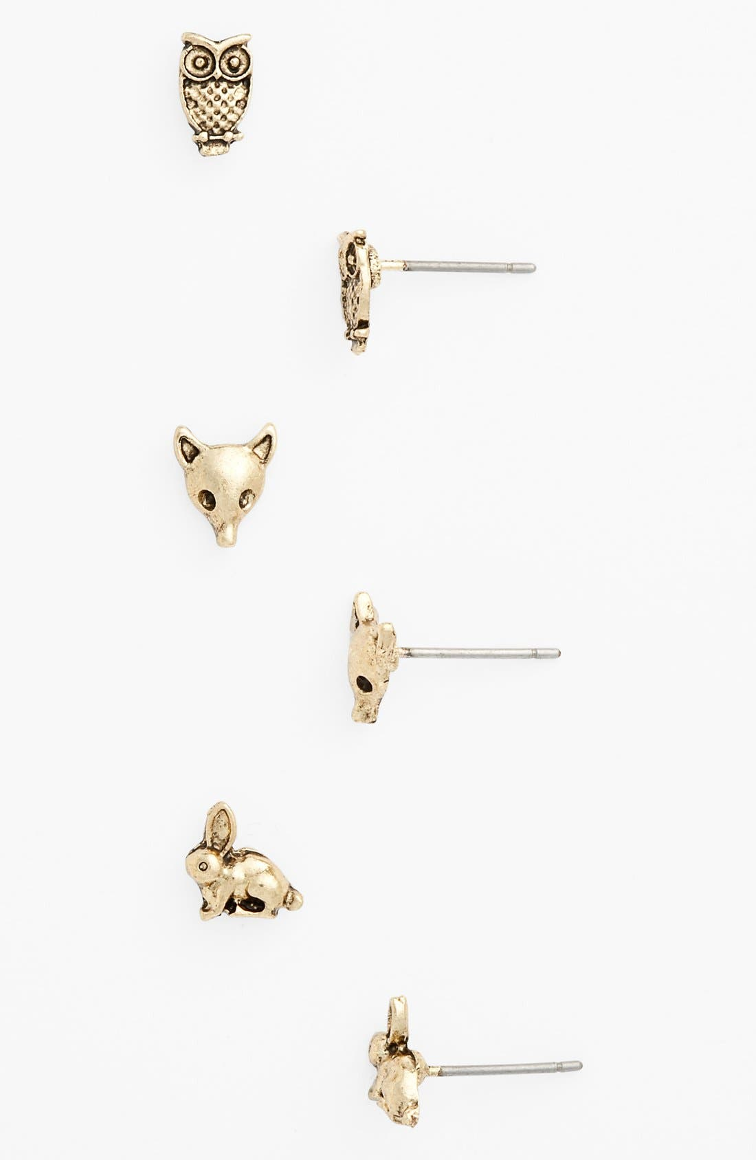 Alternate Image 1 Selected - BP. 'Critter Love' Stud Earrings (Set of 3) (Juniors)