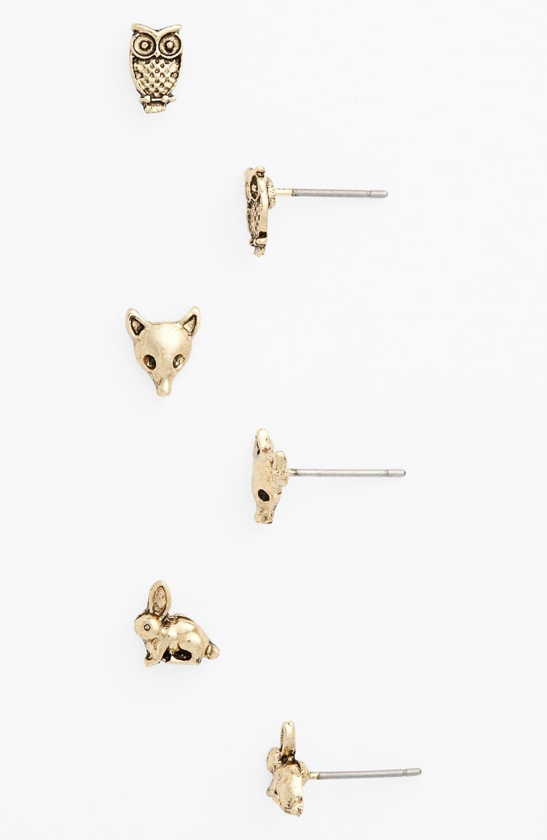Main Image - BP. 'Critter Love' Stud Earrings (Set of 3) (Juniors)