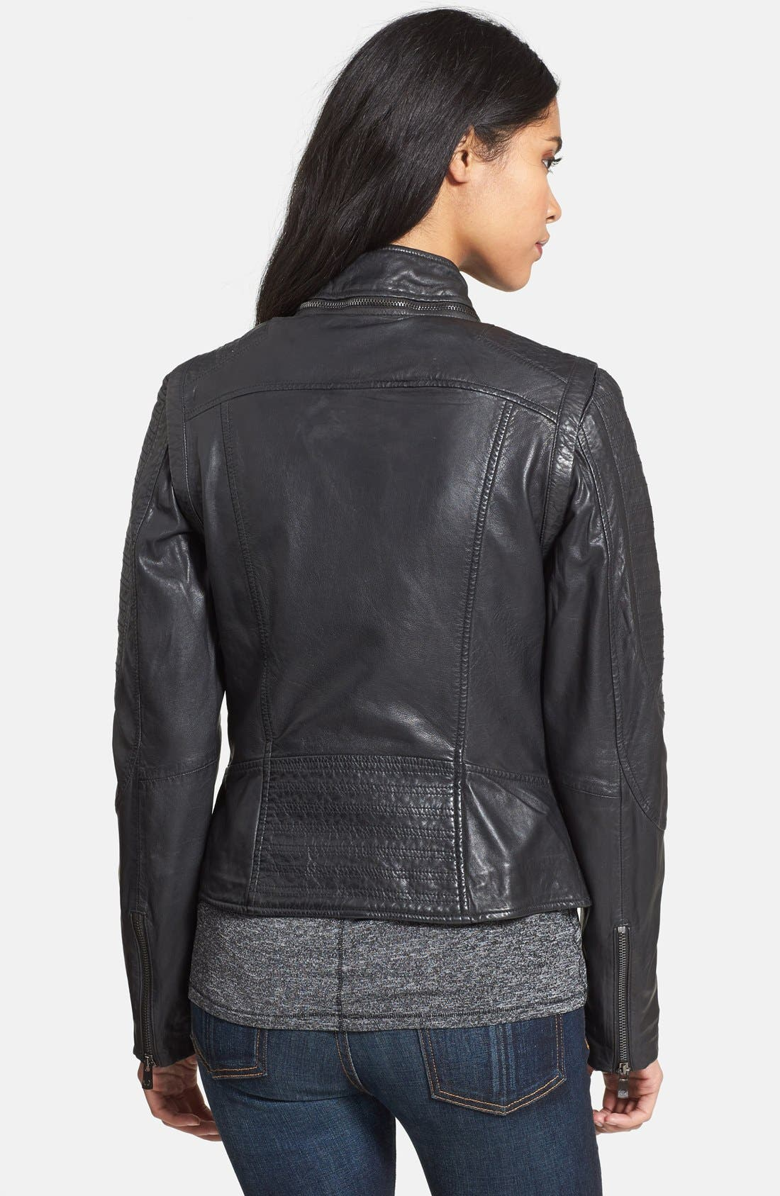 Alternate Image 2  - Bod & Christensen Zip-Off Sleeve Leather Biker Jacket