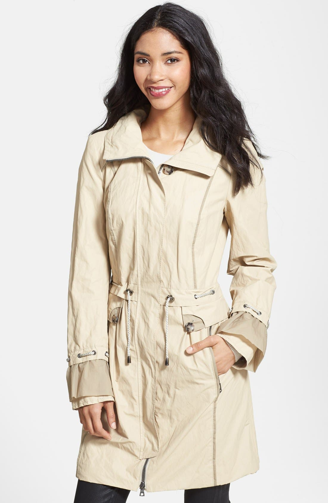 Alternate Image 1 Selected - Creenstone® Ruffle Detail Drawstring Jacket