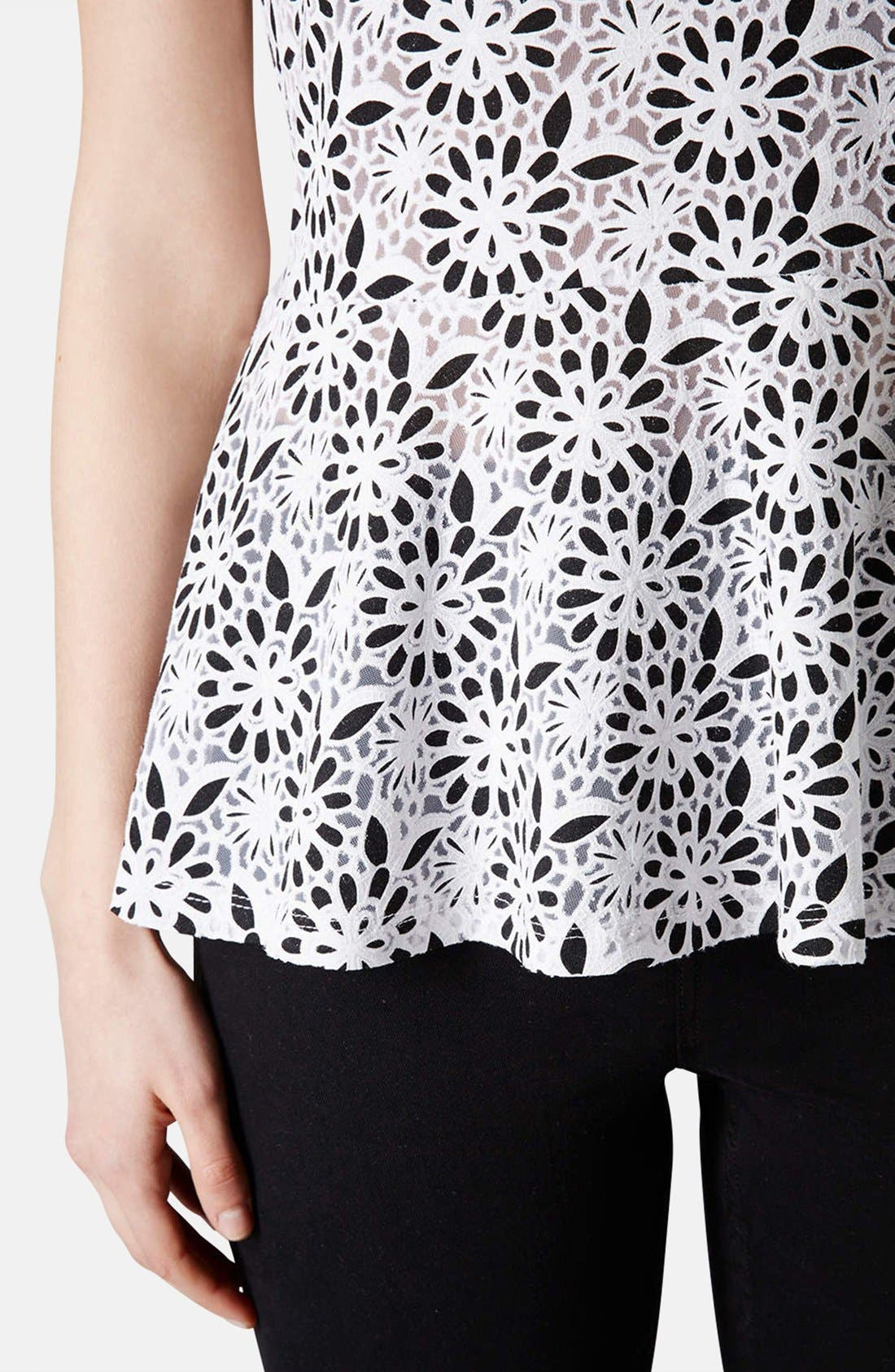 Alternate Image 4  - Topshop Floral Burnout Peplum Top