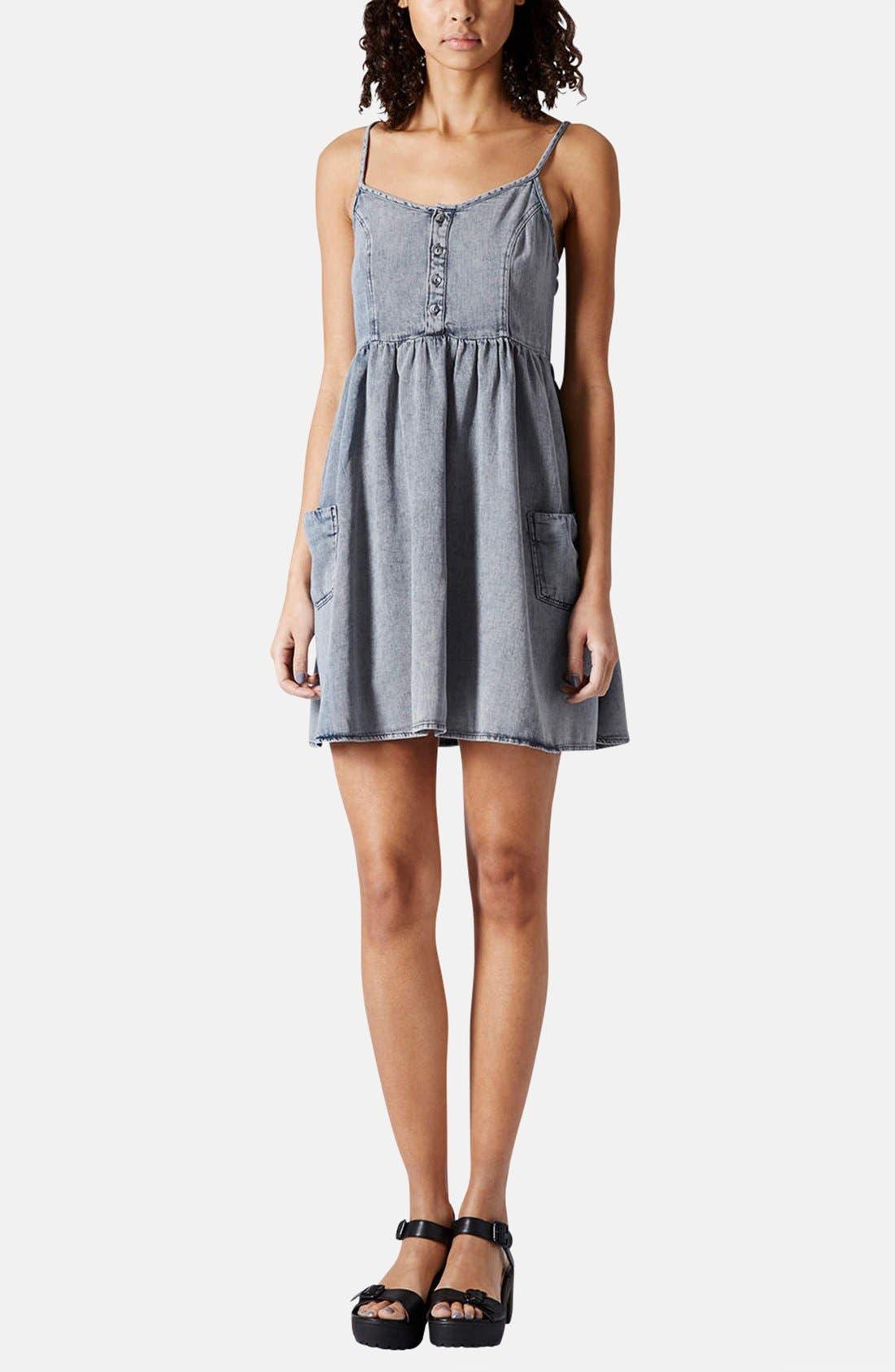 Alternate Image 5  - Topshop Moto Denim Babydoll Dress