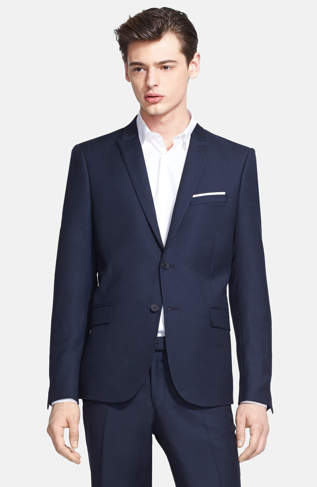 Main Image - The Kooples Fitted Navy Wool Sportcoat