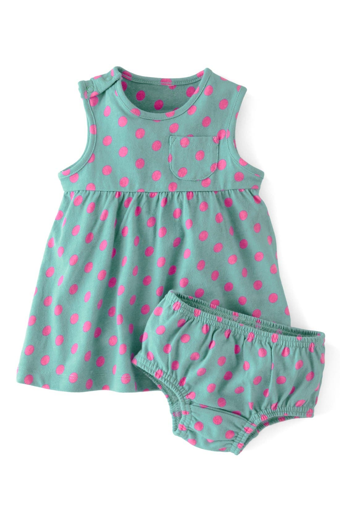Main Image - Mini Boden Essential Spotty Jersey Dress (Baby Girls)