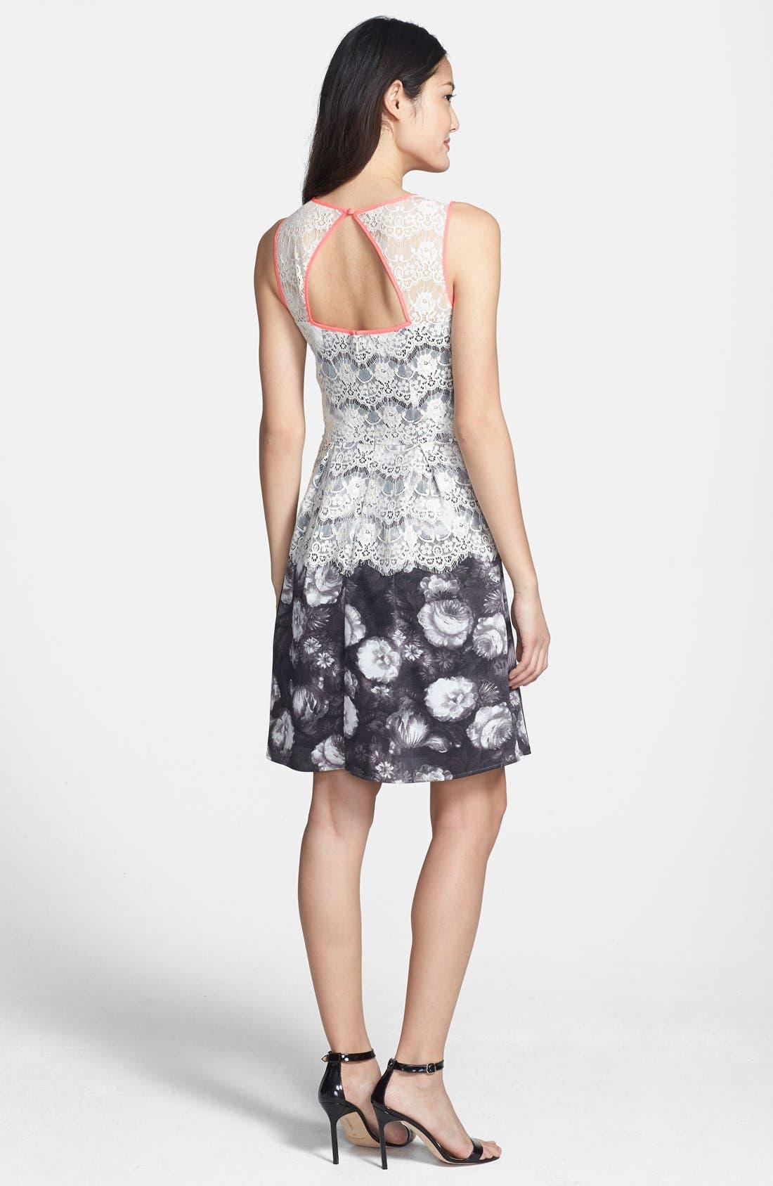Alternate Image 3  - Jessica Simpson Lace Overlay Print Fit & Flare Dress