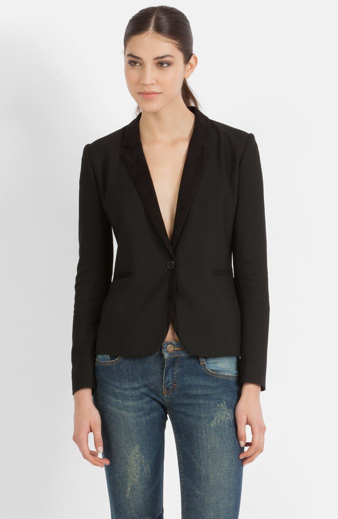 Main Image - maje 'Veste Cintree' Leather Accent Blazer