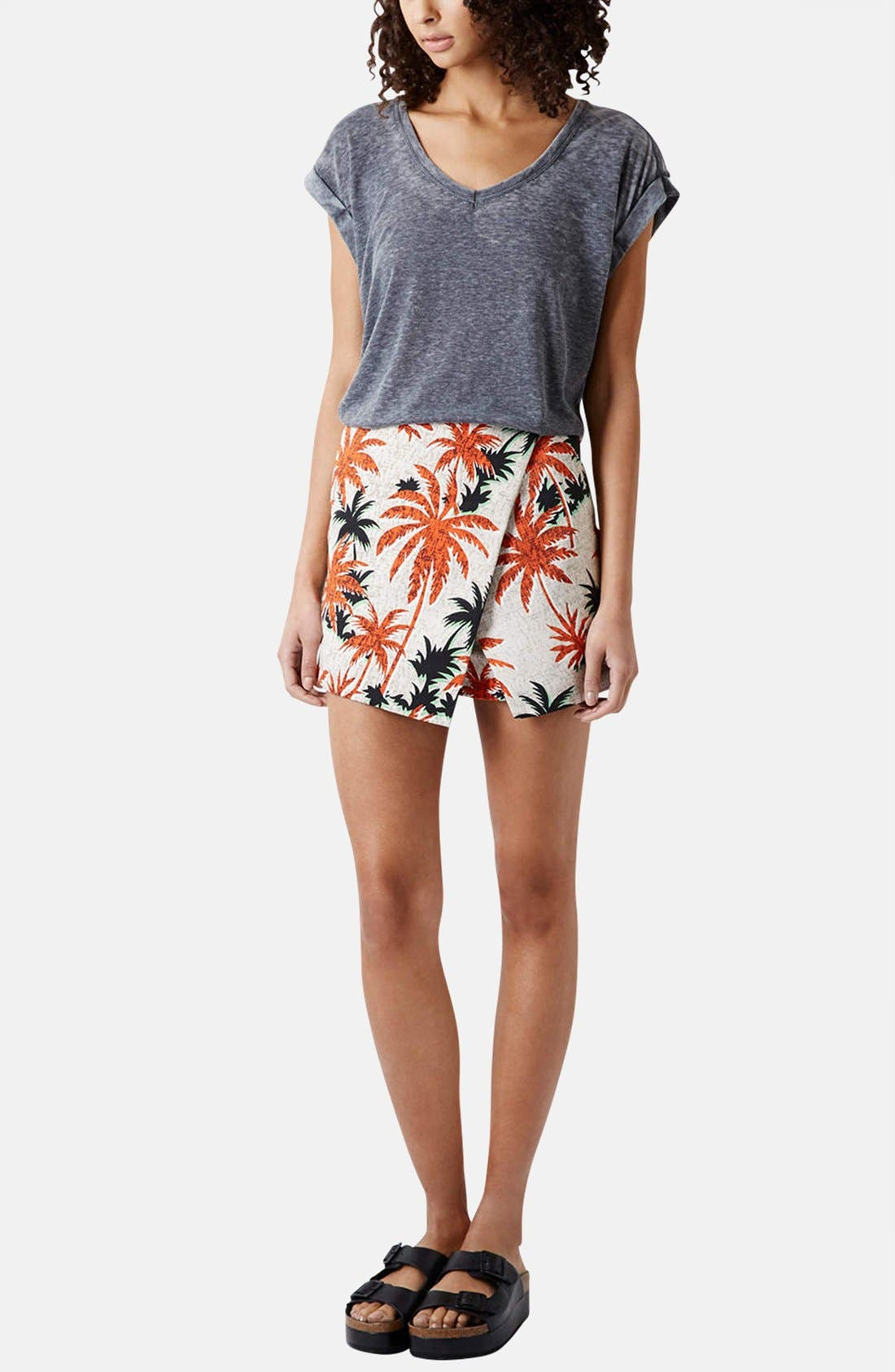Alternate Image 5  - Topshop Palm Jacquard Skort