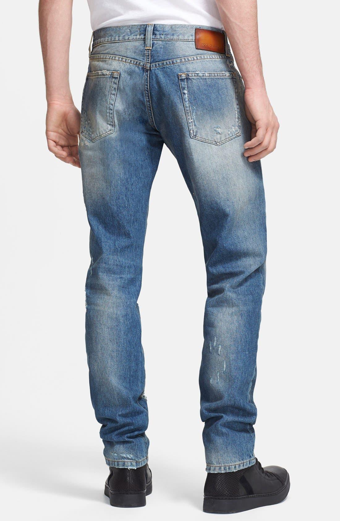Alternate Image 2  - Dolce&Gabbana Slim Fit Destroyed Jeans (Blue)