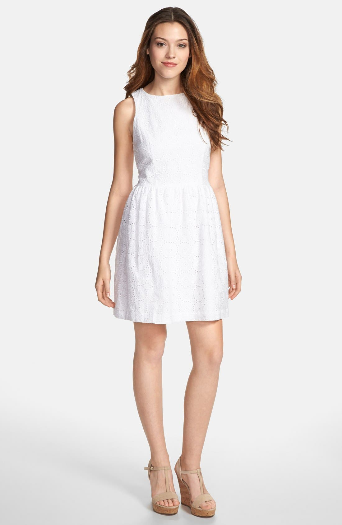 Alternate Image 1 Selected - kensie Embroidered Eyelet Fit & Flare Dress