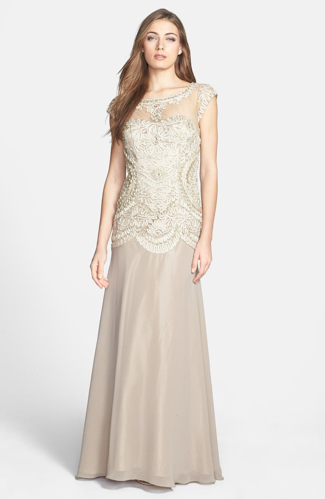 Alternate Image 1 Selected - Sue Wong Embroidered Georgette Gown