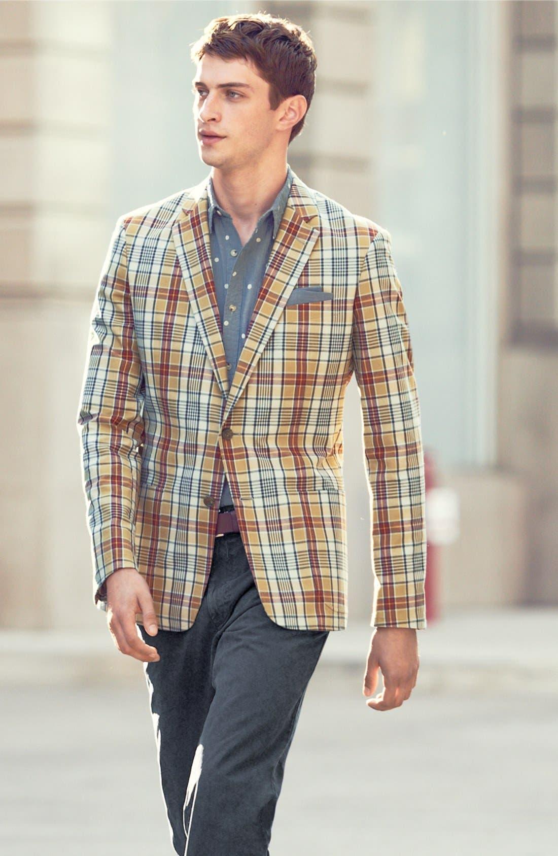 Alternate Image 4  - Wallin & Bros. Trim Fit Madras Plaid Sportcoat
