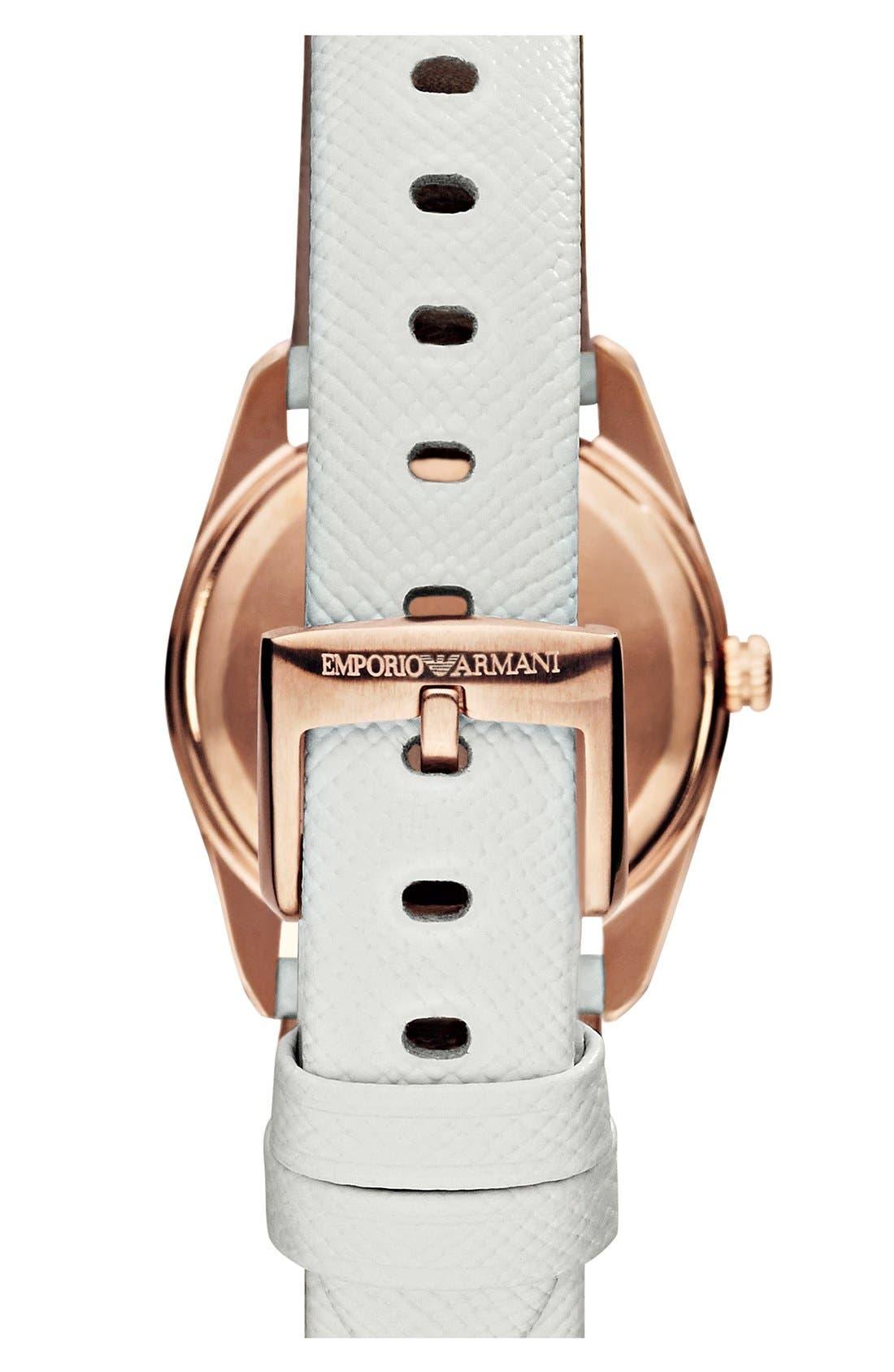 Alternate Image 2  - Emporio Armani Round Saffiano Leather Strap Watch, 26mm