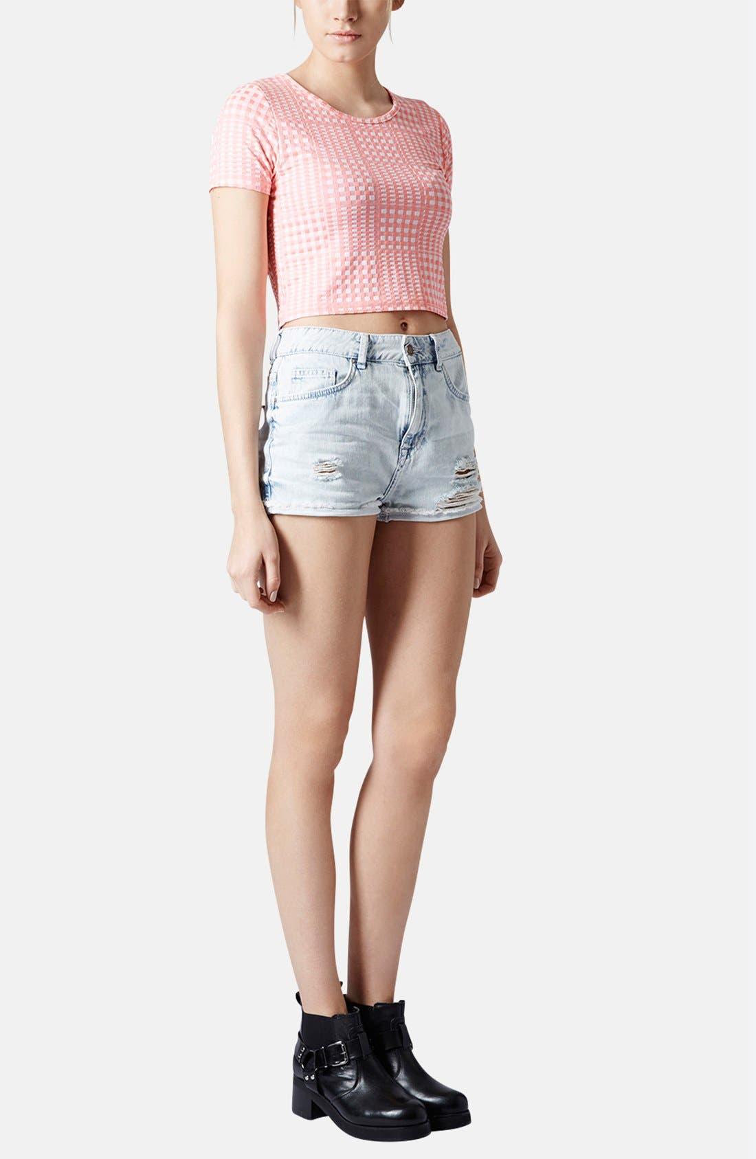 Alternate Image 5  - Topshop Moto 'Hallie' Destroyed Bleached Denim Shorts