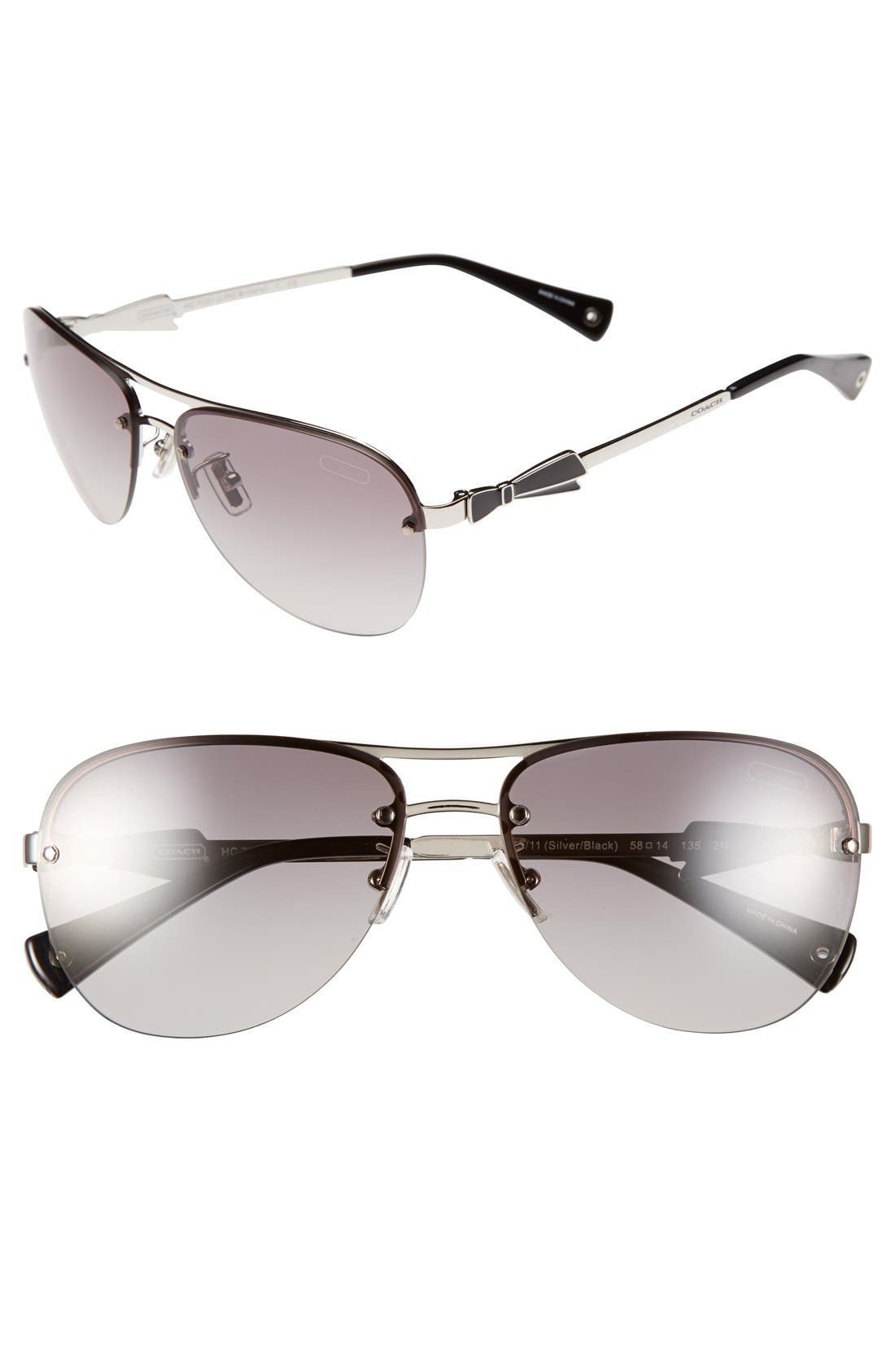 Alternate Image 1 Selected - COACH 58mm Aviator Sunglasses