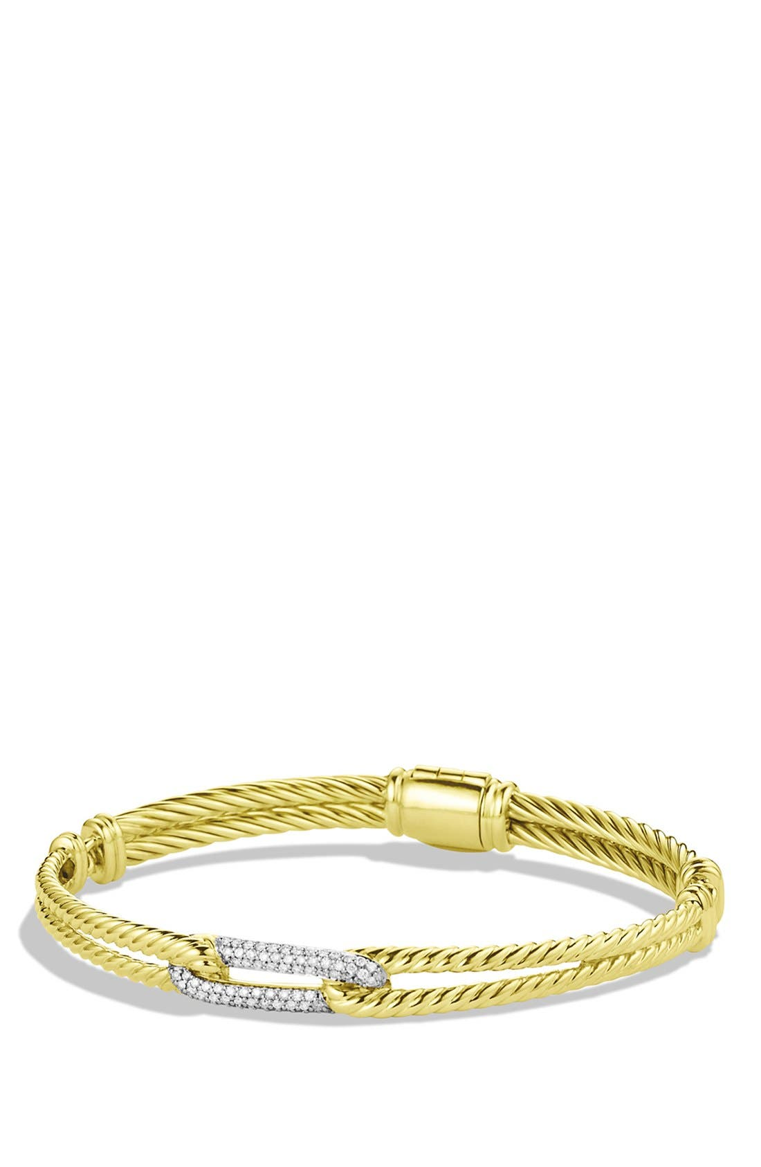 Main Image - David Yurman Petite Pavé 'Labyrinth' Mini Single Loop Bracelet with Diamonds in Gold