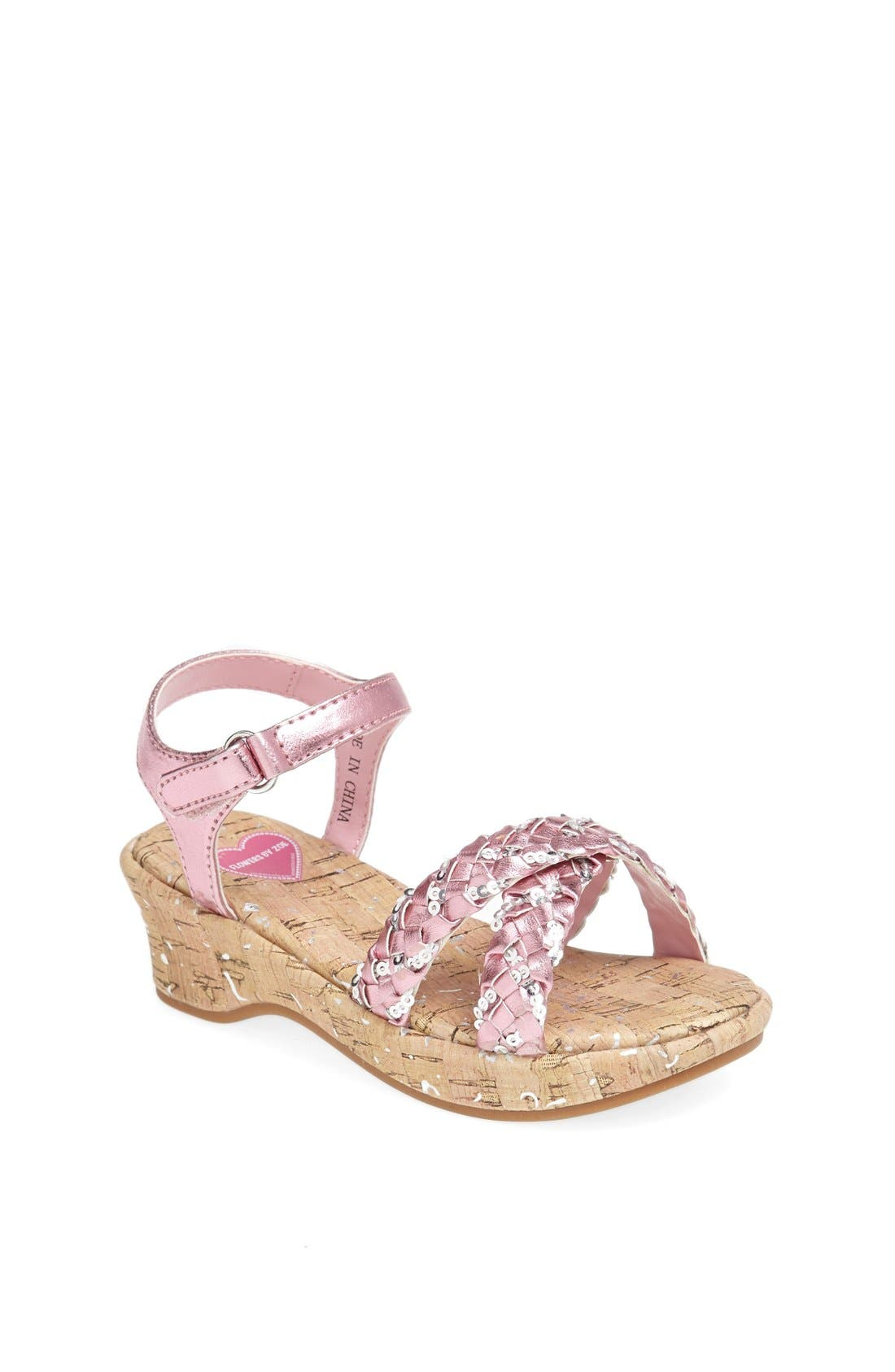 Alternate Image 1 Selected - Flowers by Zoe 'Brenda' Wedge Sandal (Toddler)