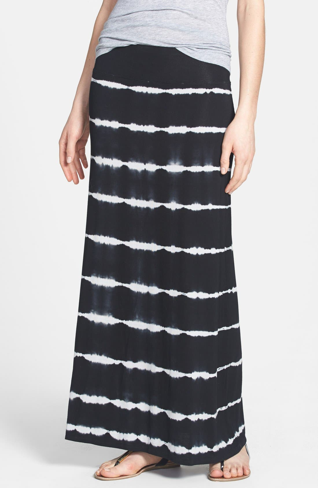 Main Image - kensie Tie Dye Stretch Knit Maxi Skirt