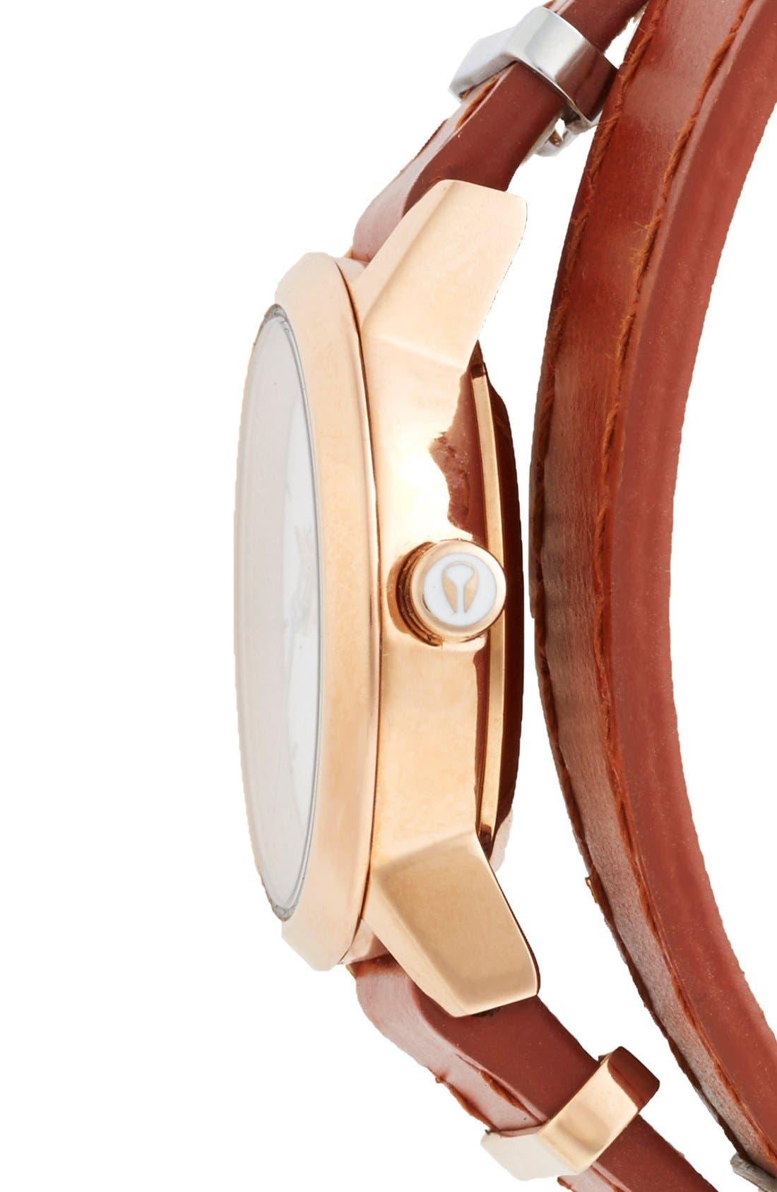 Alternate Image 3  - Nixon 'The Kenzi' Metal Detail Wrap Leather Strap Watch, 26mm