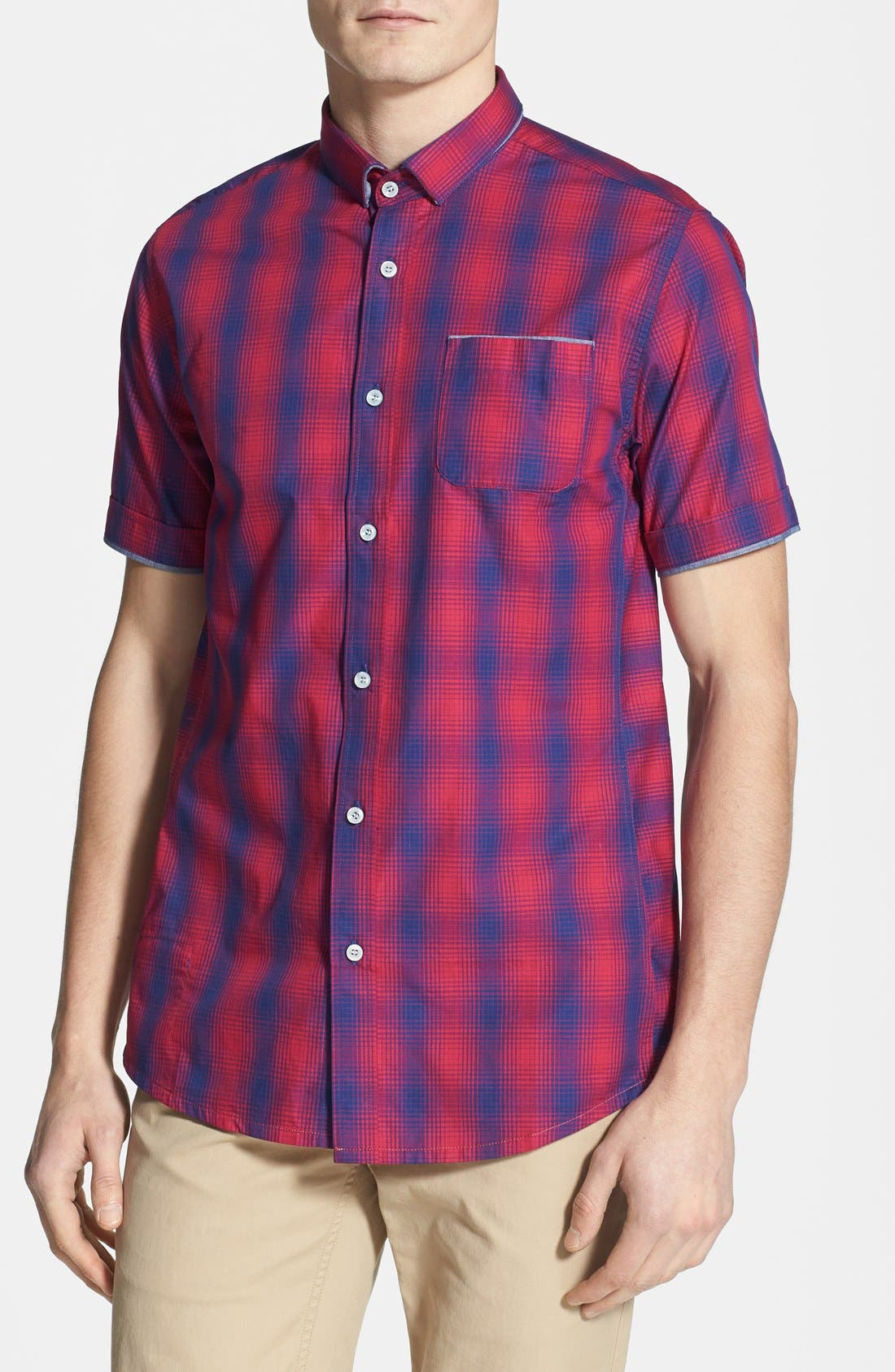 Alternate Image 1 Selected - Descendant of Thieves Ombré Short Sleeve Plaid Shirt