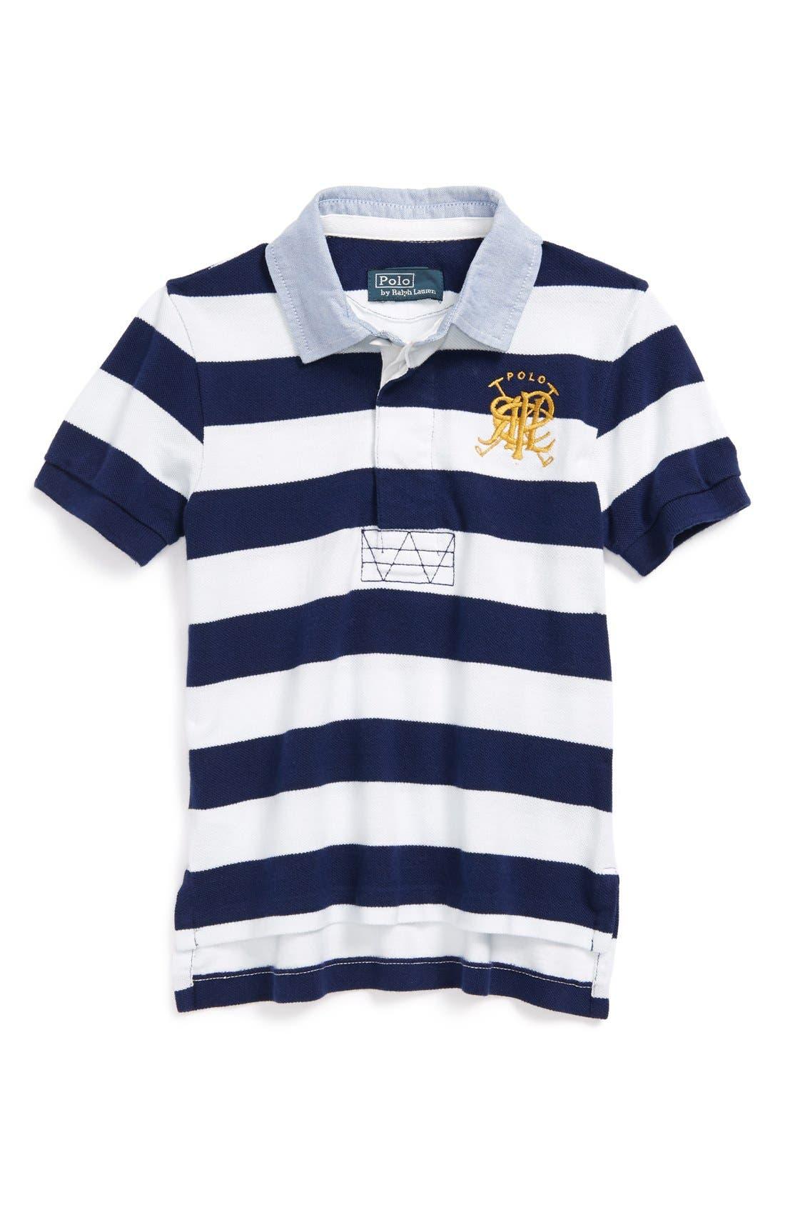 Alternate Image 1 Selected - Ralph Lauren Striped Polo (Toddler Boys)