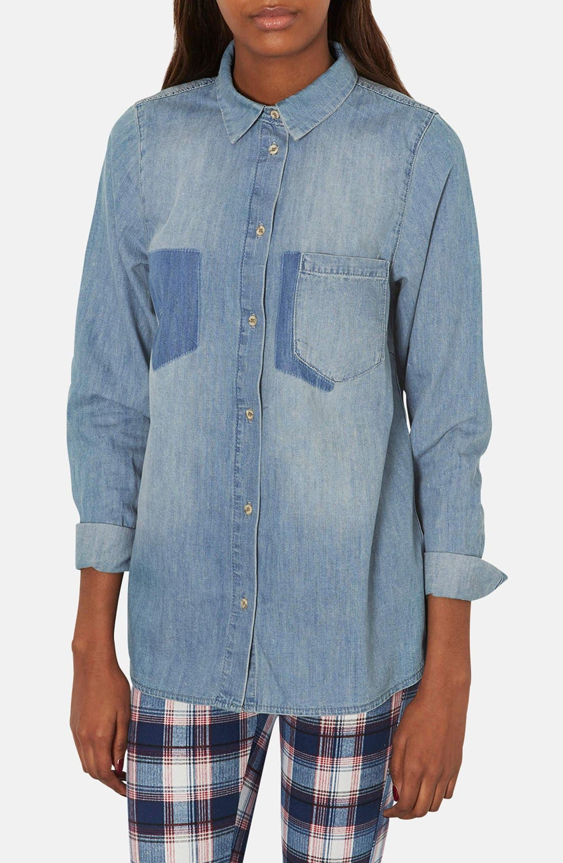 Alternate Image 1 Selected - Topshop Moto Denim Pocket Shirt