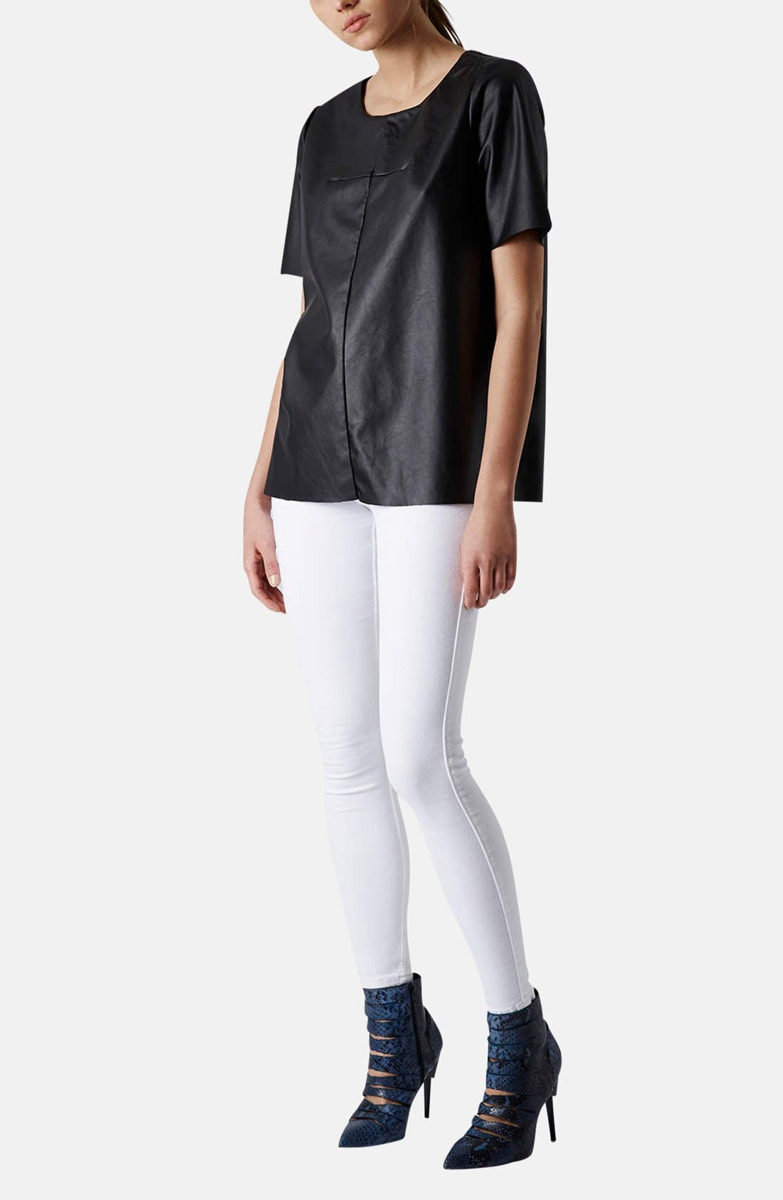 Alternate Image 5  - Topshop 'Faith' Faux Leather Tee