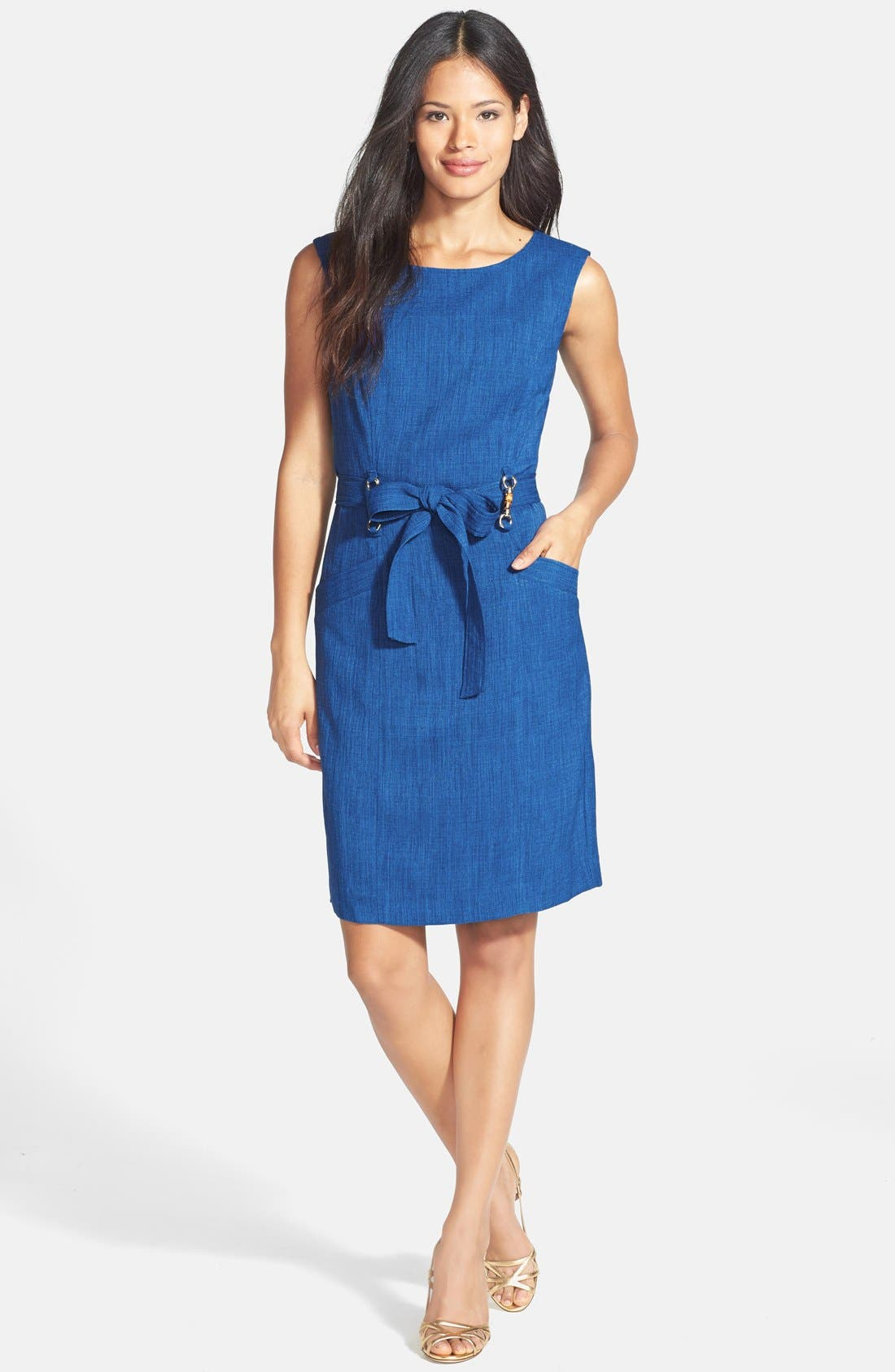 Alternate Image 3  - Ellen Tracy Bamboo Detail Belted Sheath Dress (Petite)