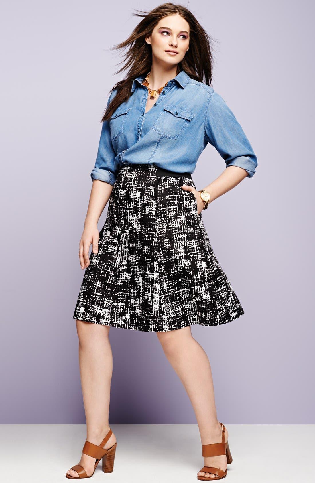 Alternate Image 4  - Sejour Printed Cotton Sateen A-Line Skirt (Plus Size)