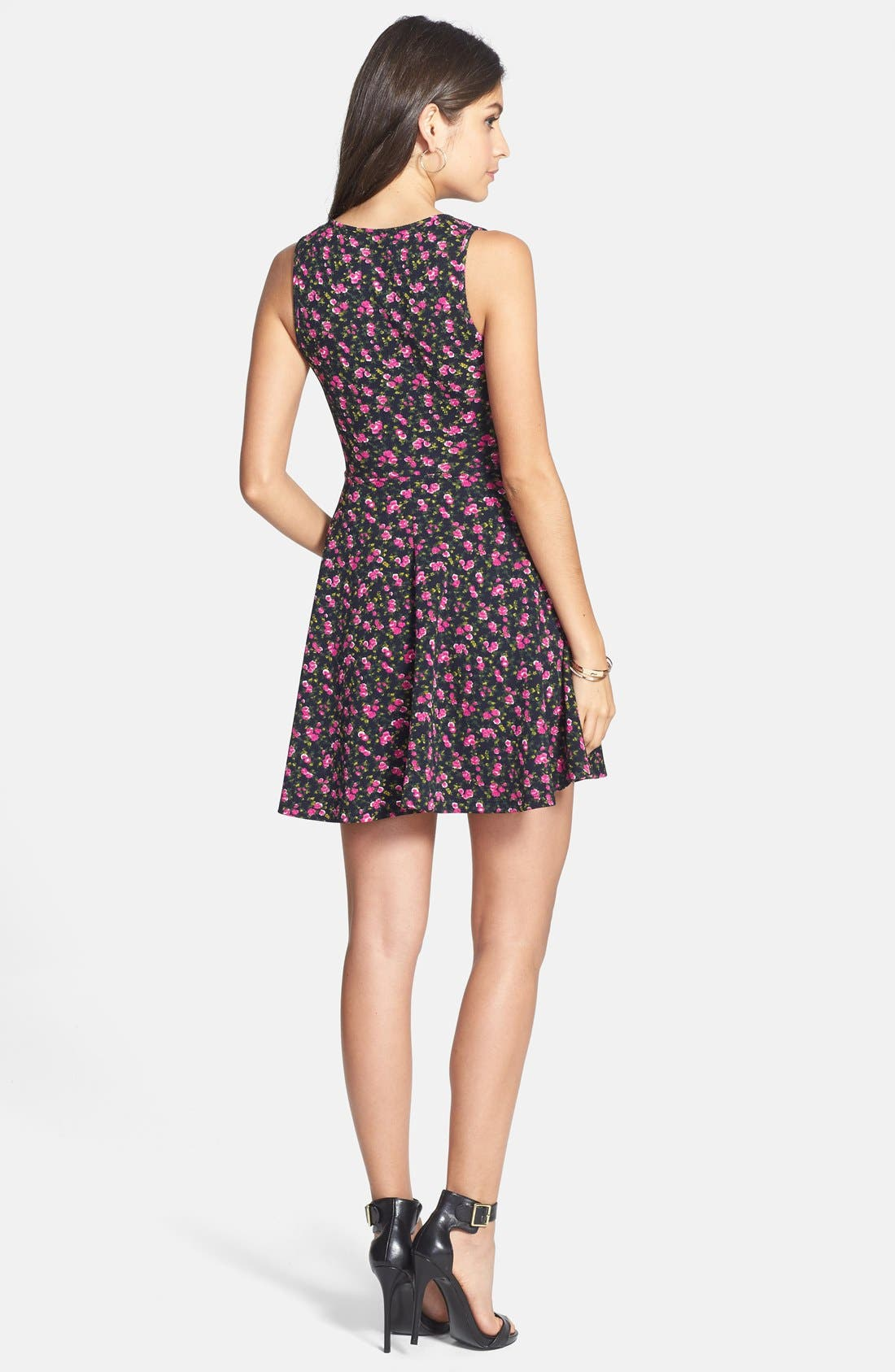 Alternate Image 2  - Soprano Floral Textured Skater Dress (Juniors)