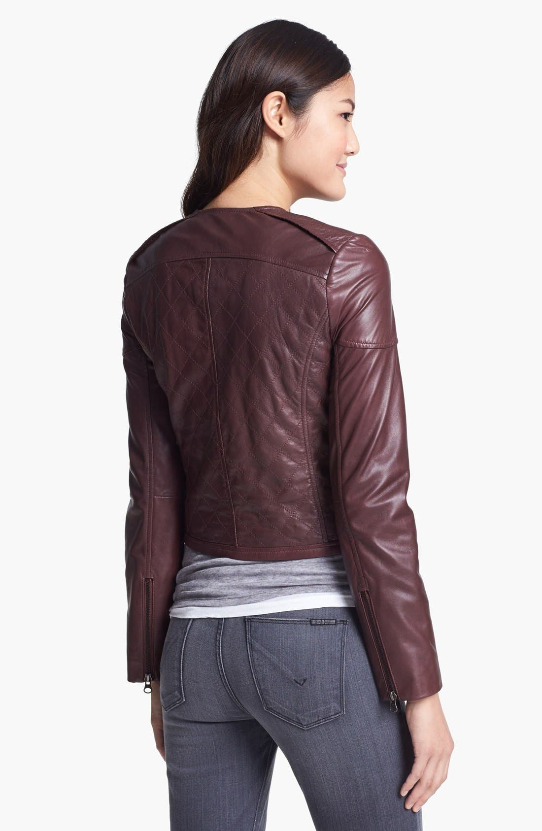 Alternate Image 3  - Bernardo Quilted Collarless Leather Jacket (Petite) (Nordstrom Exclusive)
