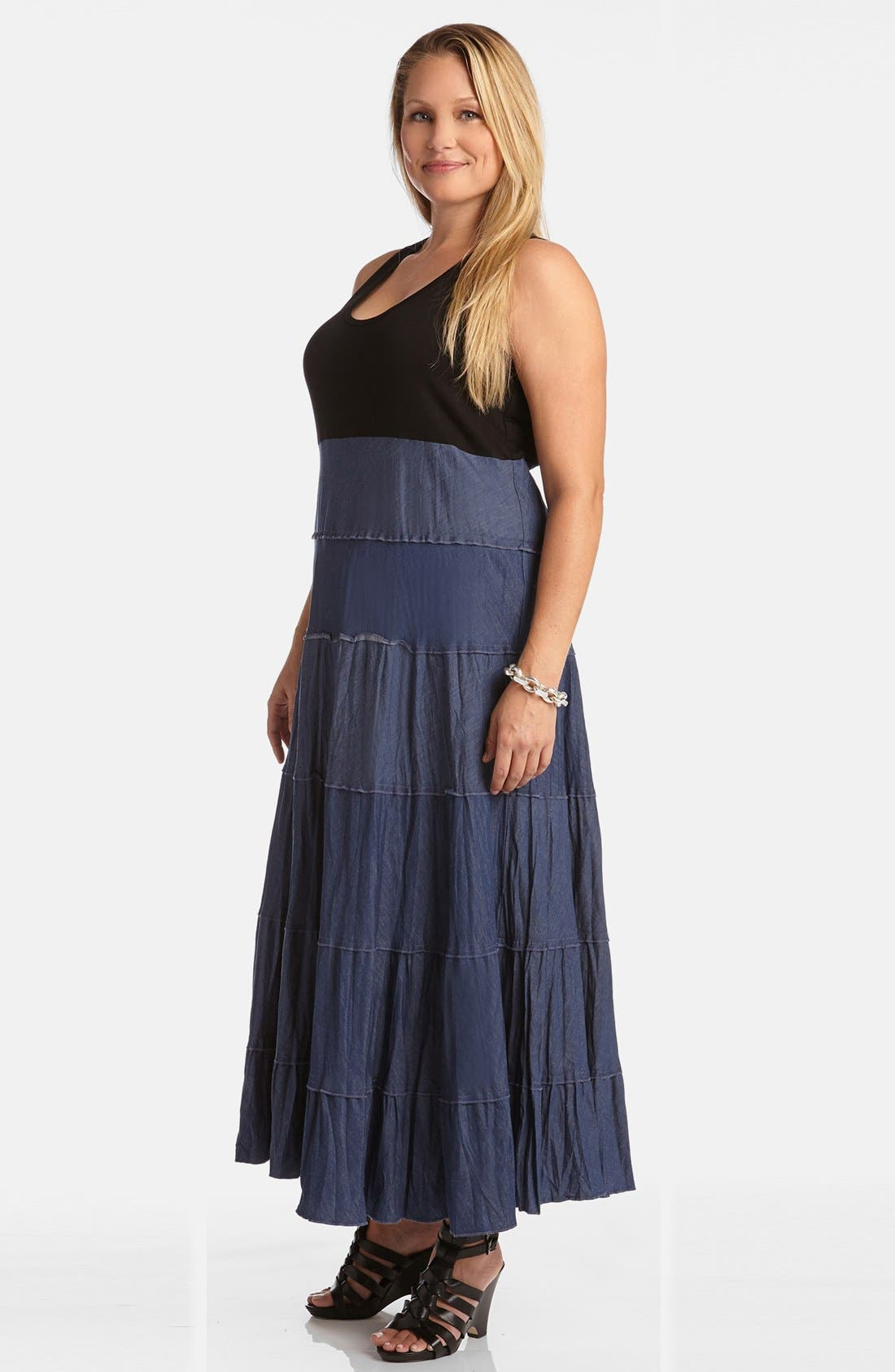 Alternate Image 4  - Karen Kane Mixed Media Tiered Maxi Dress (Plus Size)