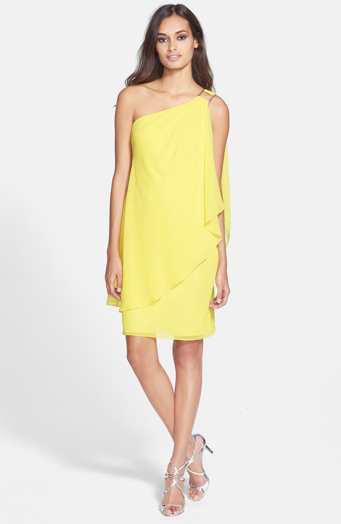 Alternate Image 3  - Laundry by Shelli Segal One-Shoulder Drape Chiffon Dress