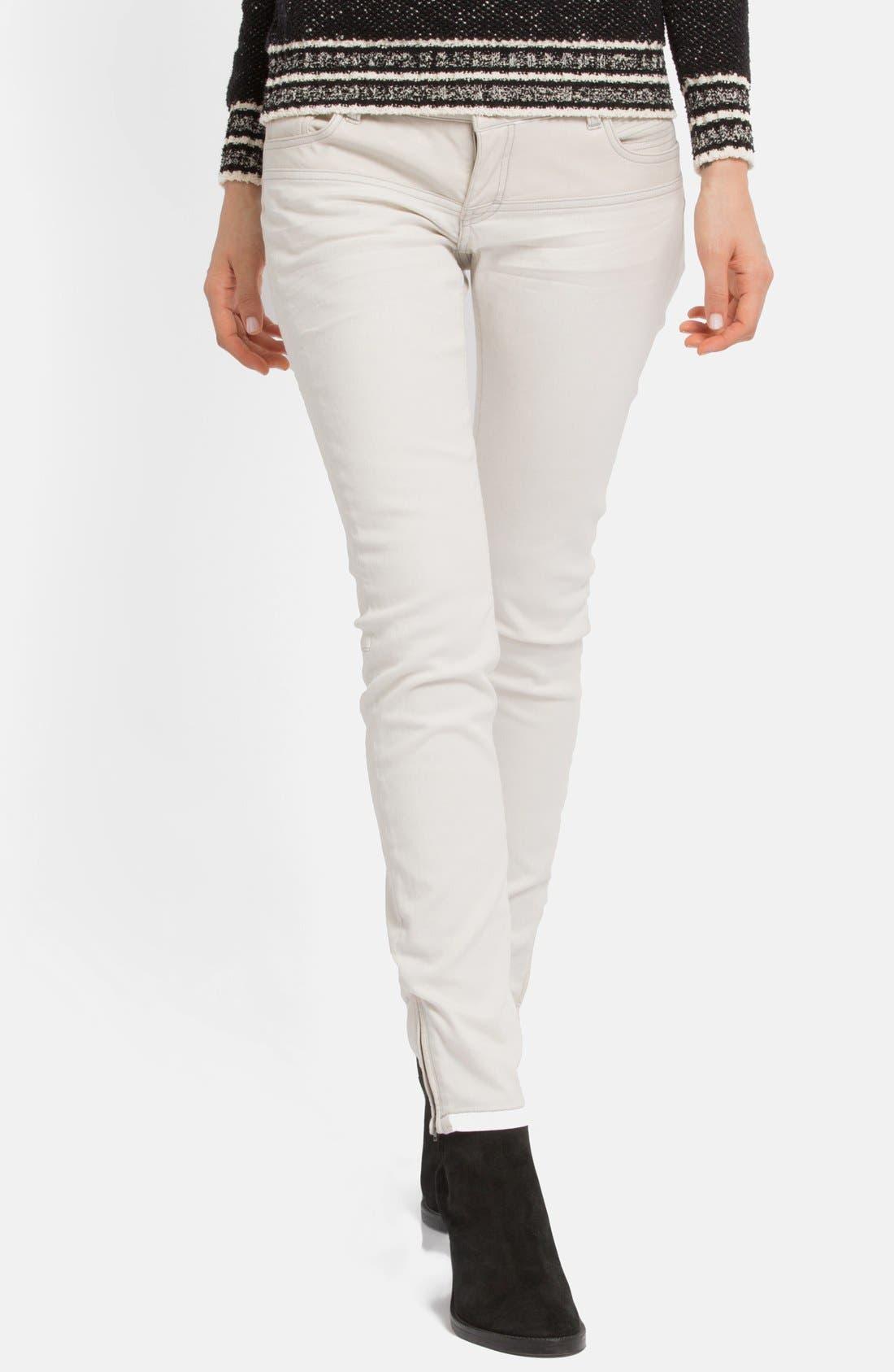 Main Image - maje Leather Panel Stretch Skinny Jeans (Ecru)