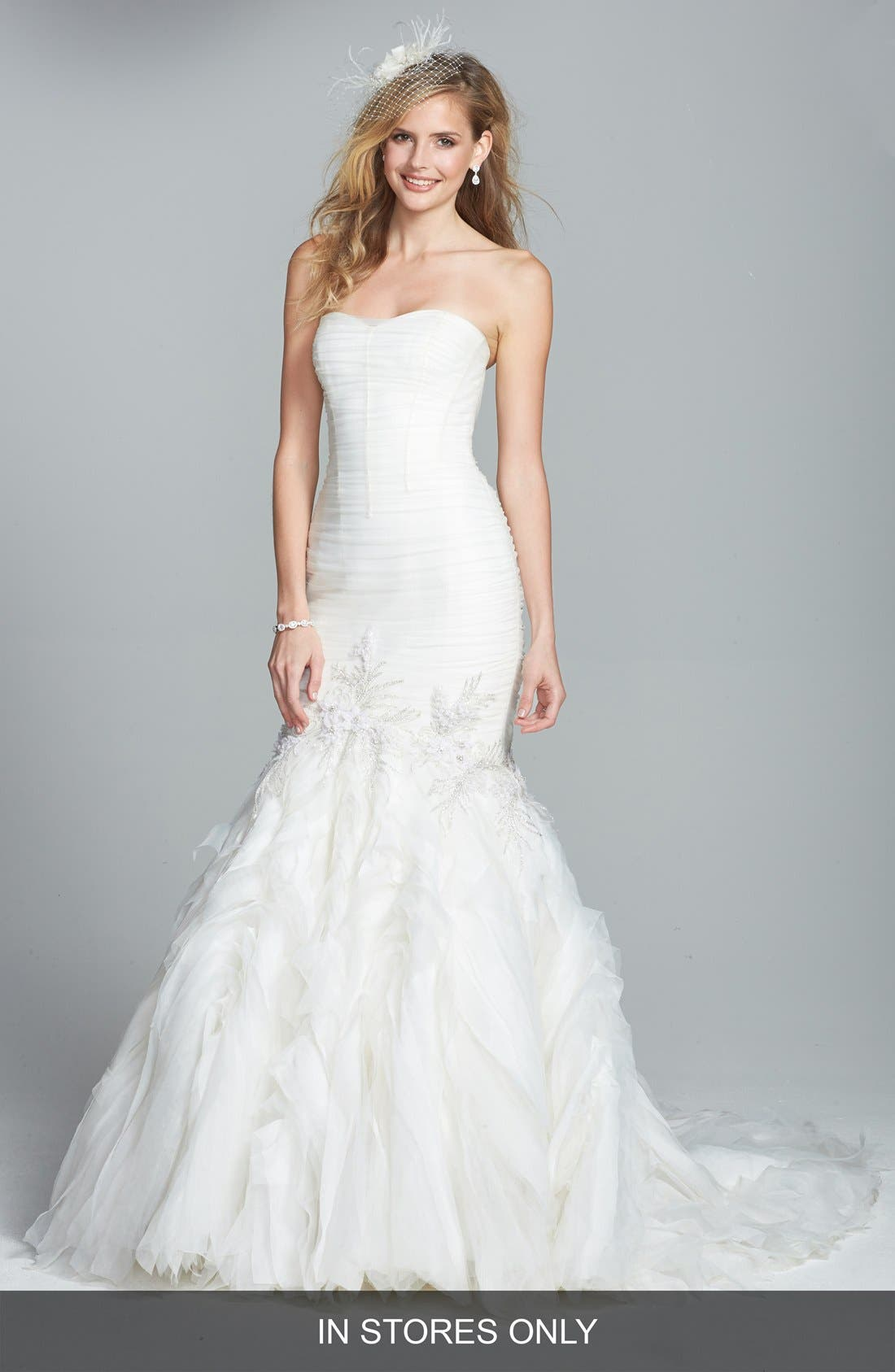 Alternate Image 1 Selected - Badgley Mischka Bridal 'Bridgette' Embellished Tulle Mermaid Dress (In Stores Only)