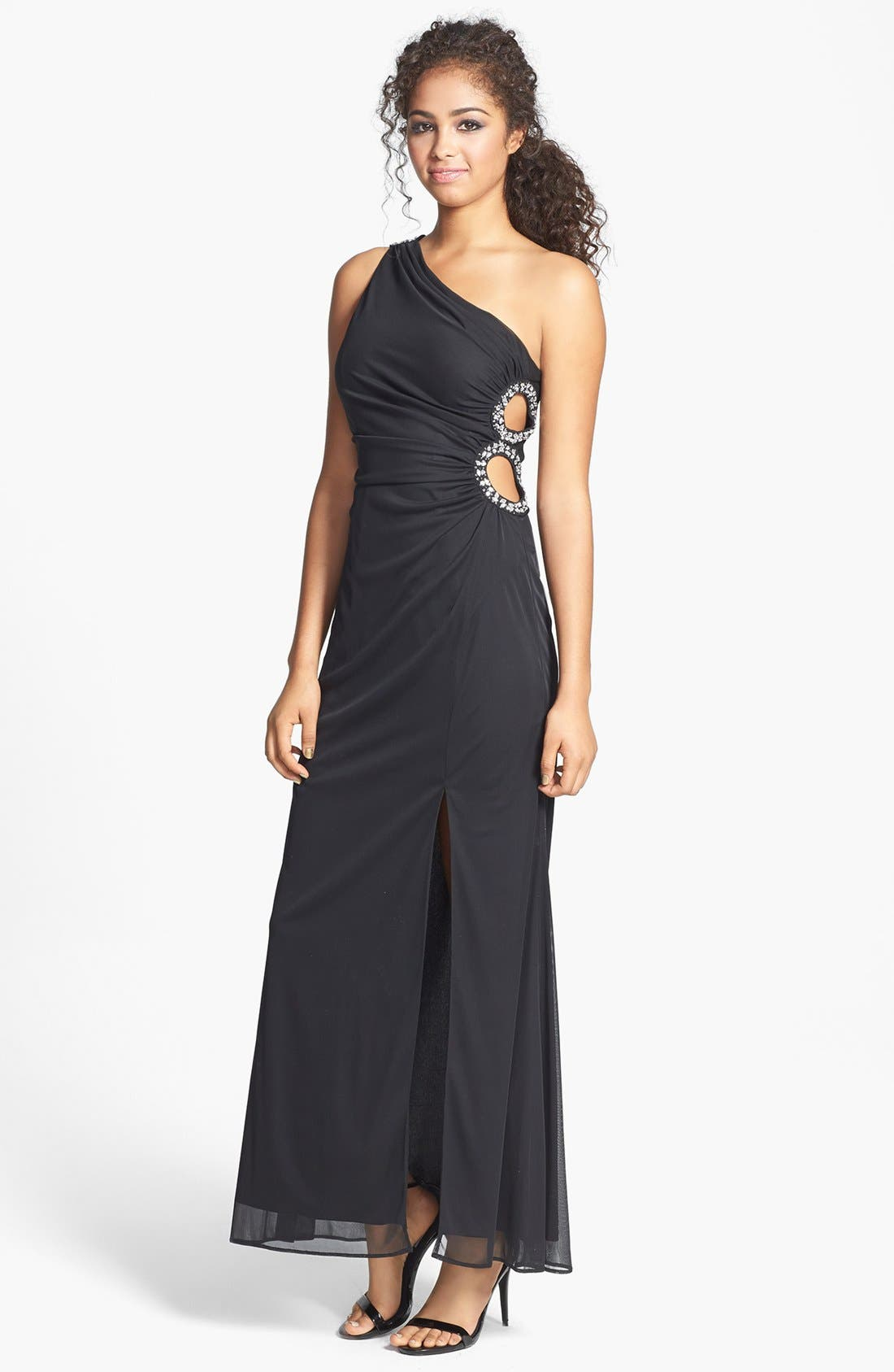 Main Image - Hailey Logan Embellished Cutout One-Shoulder Gown (Juniors)