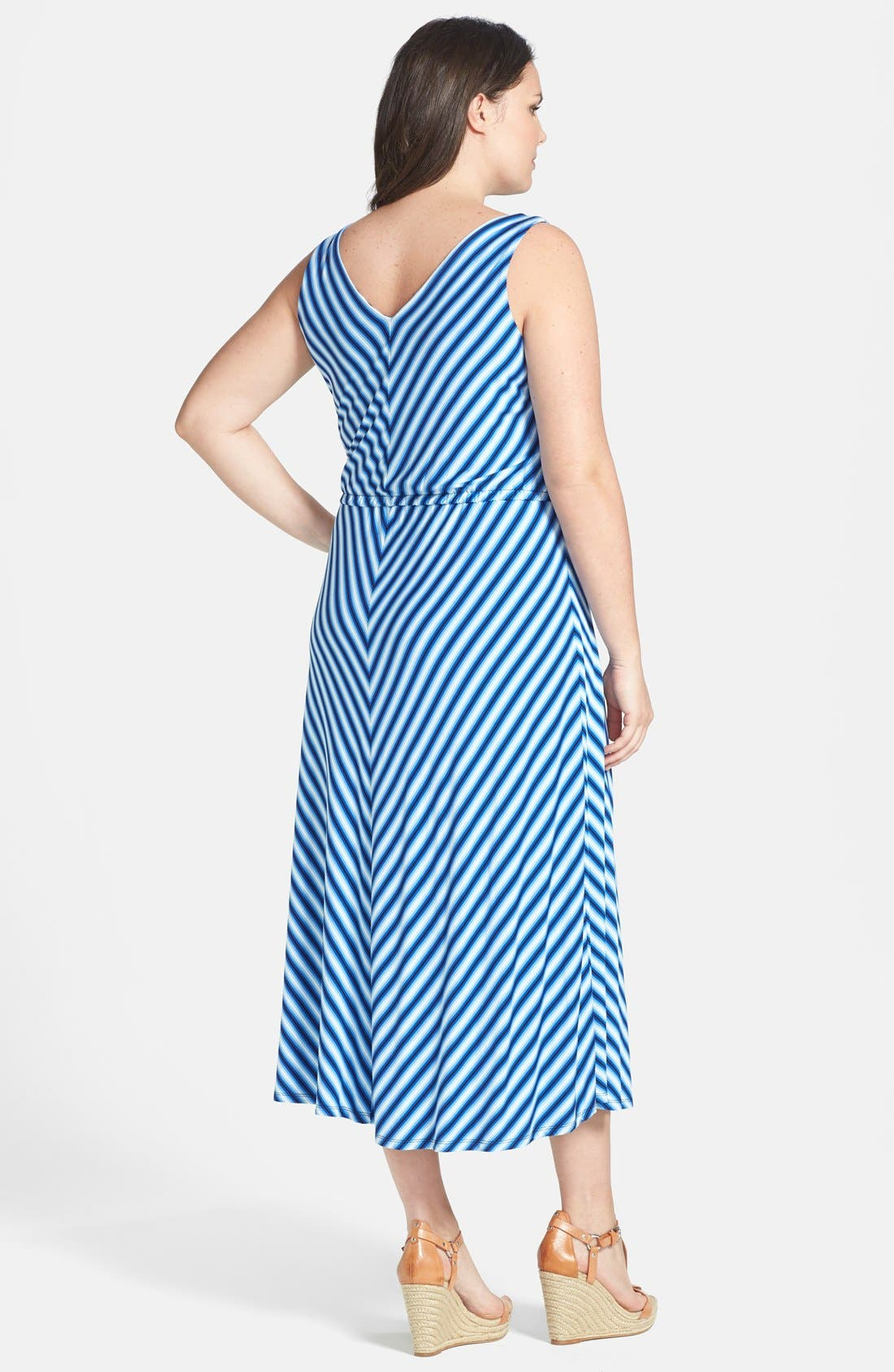 Alternate Image 2  - Calvin Klein Miter Stripe Maxi Dress (Plus Size)