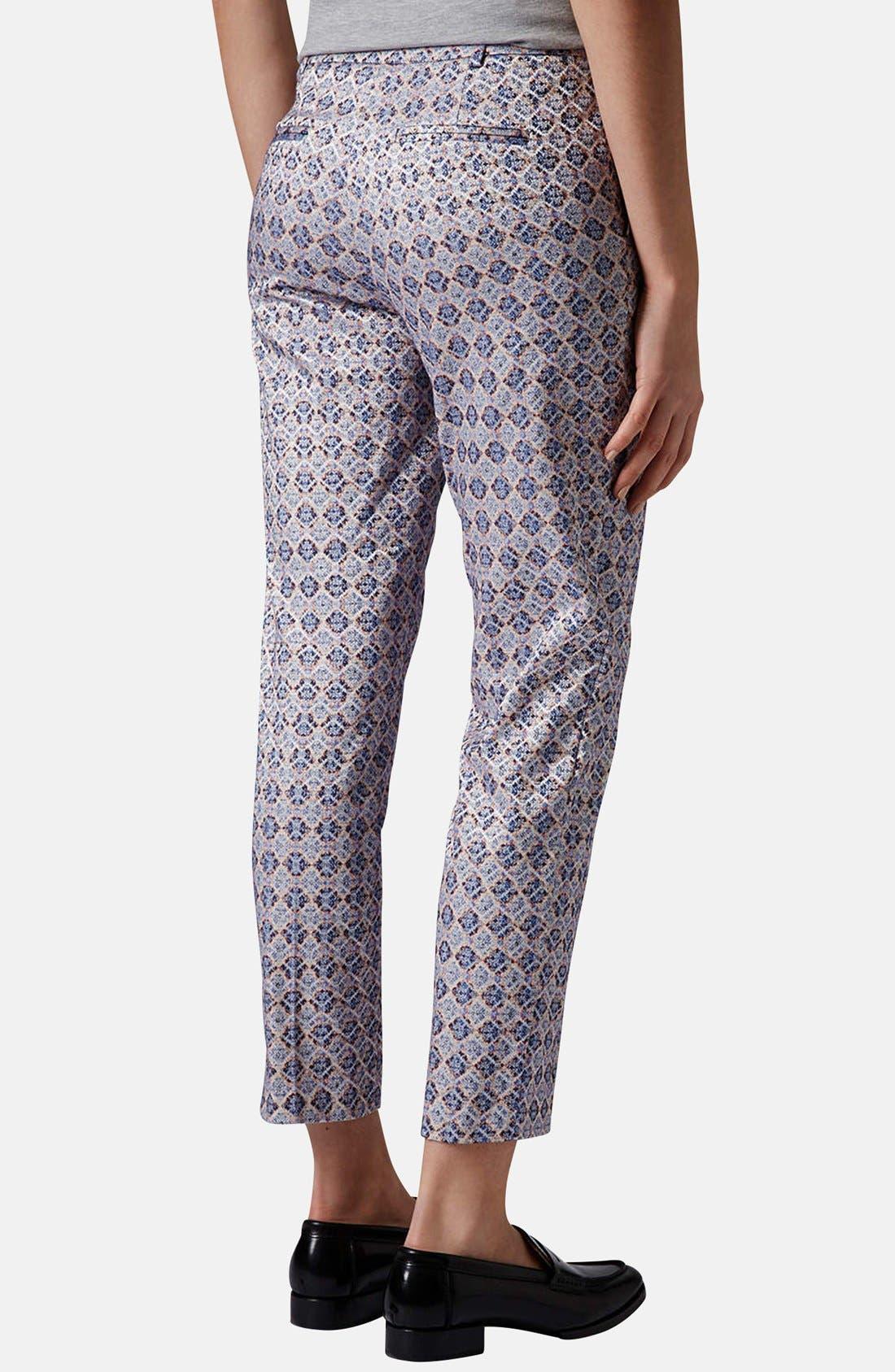 Alternate Image 2  - Topshop 'Folk Tile' Crop Jacquard Trousers