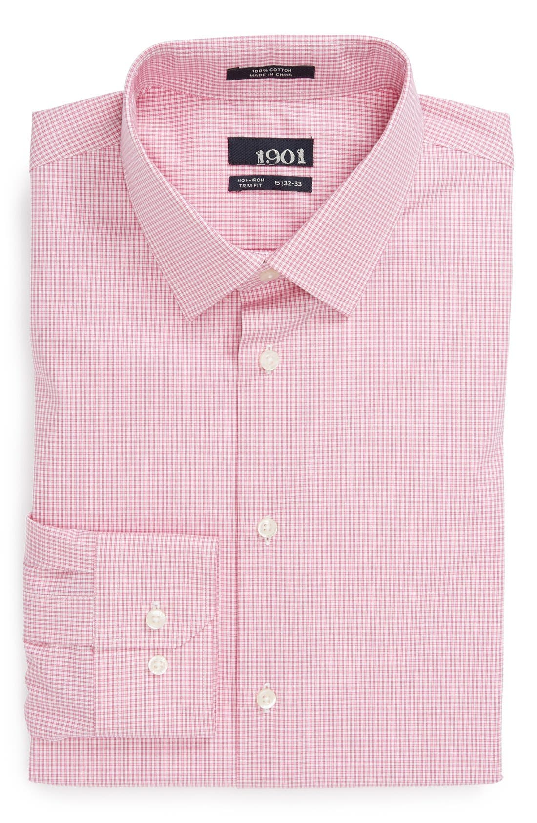 Alternate Image 1 Selected - 1901 Trim Fit Non-Iron Check Dress Shirt