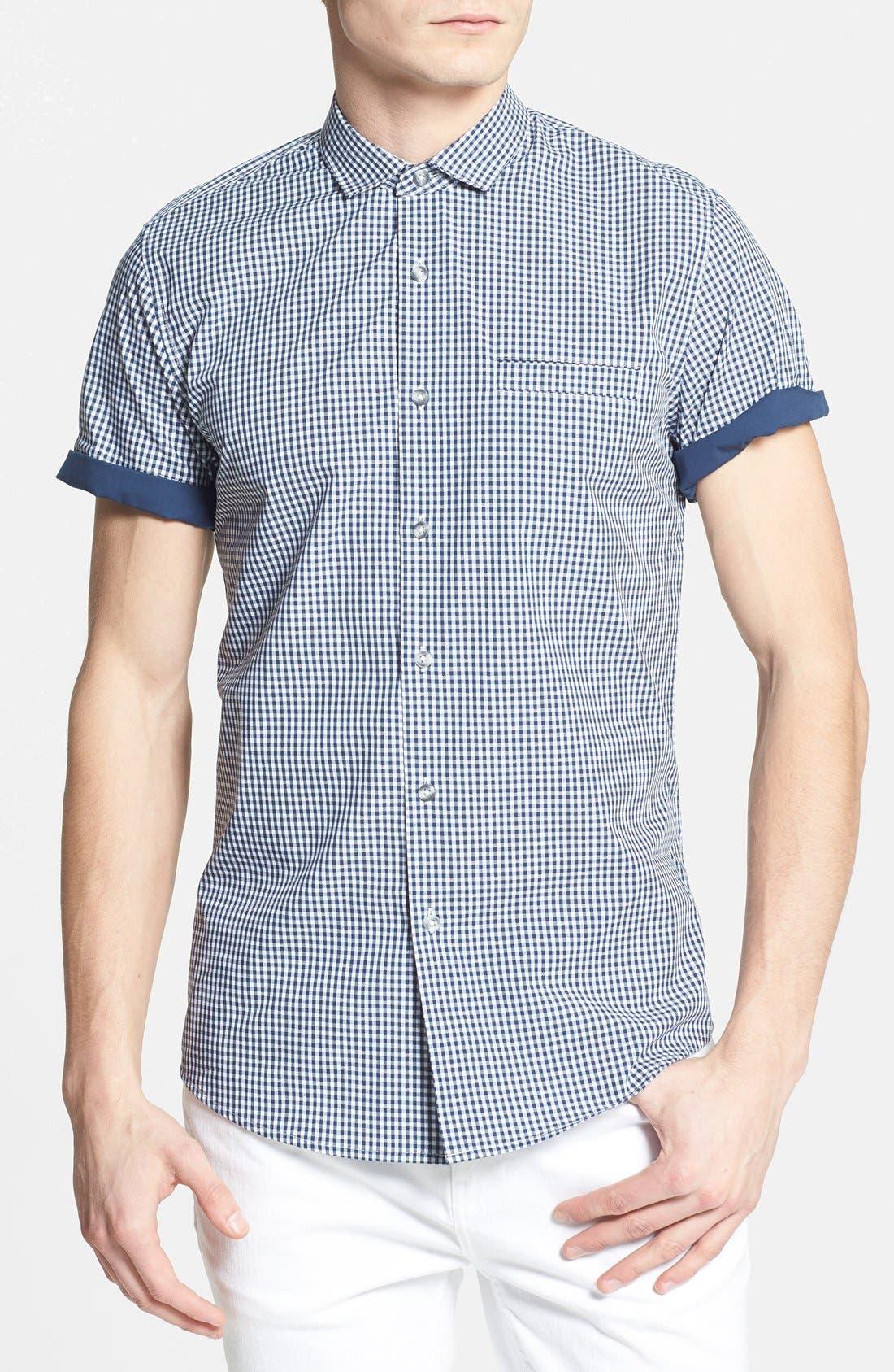 Main Image - Topman Slim Fit Short Sleeve Gingham Shirt