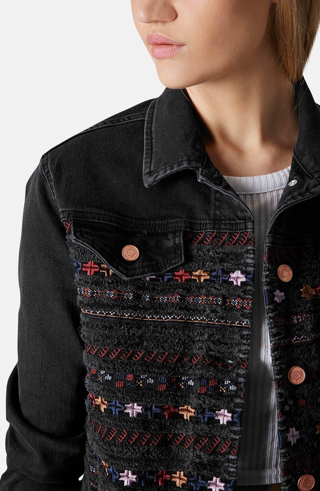 Alternate Image 4  - Topshop Moto Embroidered Denim Jacket