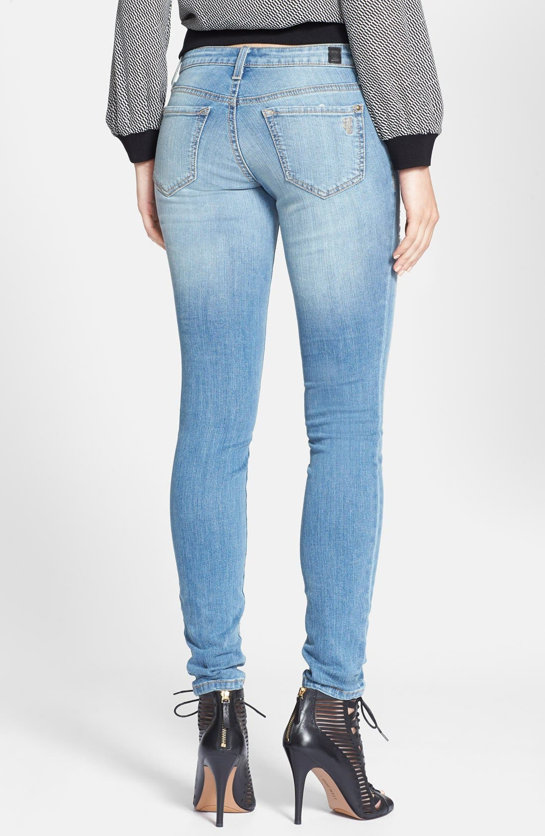 Alternate Image 2  - Jessica Simpson 'Kiss Me' Deconstructed Skinny Jeans (Powder Blue/Dynamic)