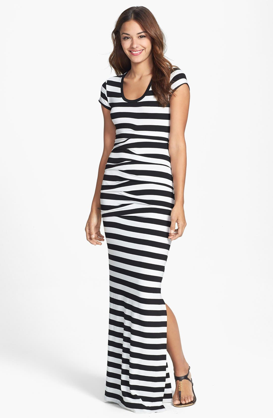 Alternate Image 1 Selected - Nicole Miller 'Vanessa' Stripe Tidal Pleat Jersey Maxi Dress