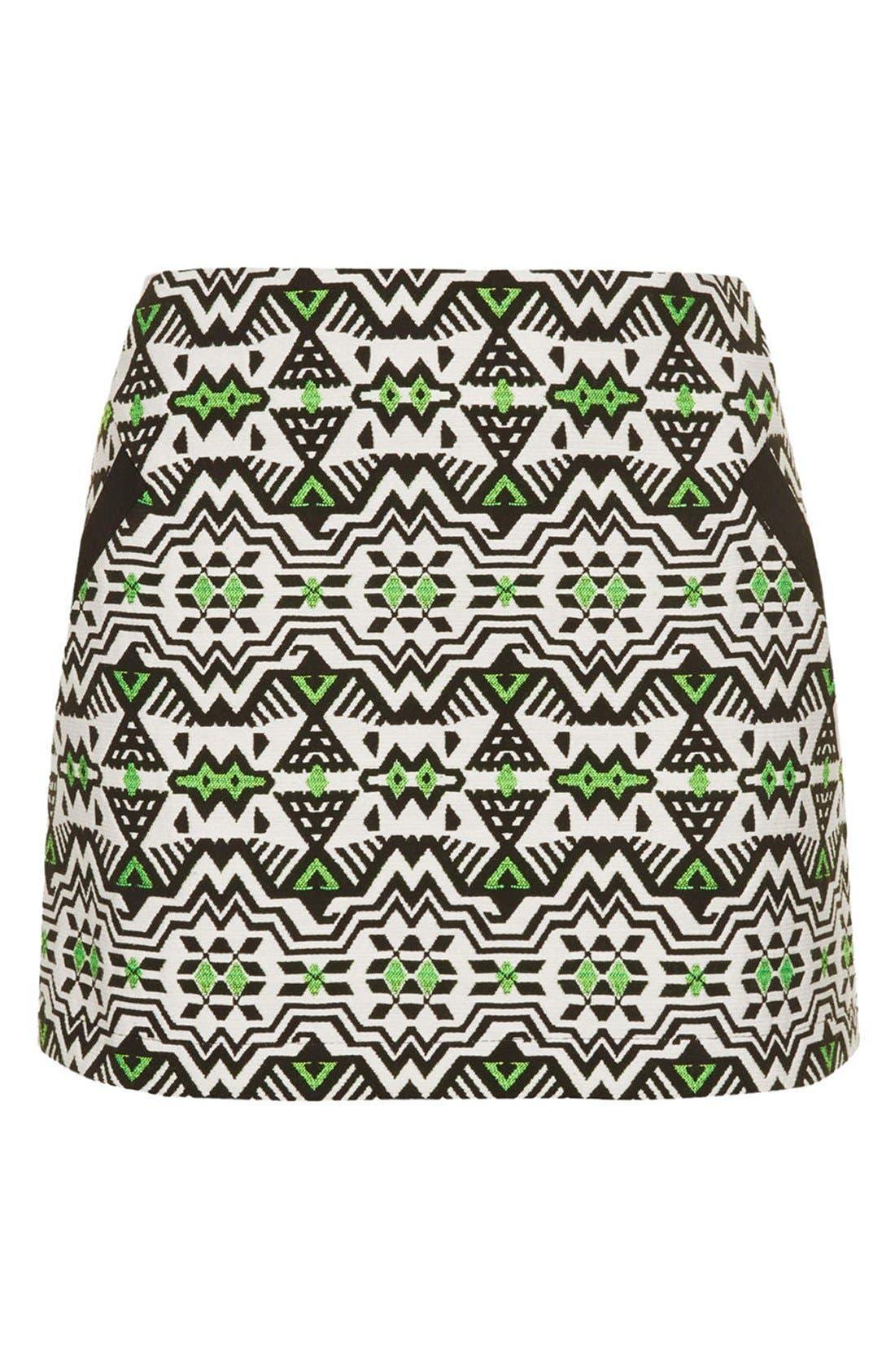 Alternate Image 3  - Topshop Geo Jacquard Miniskirt