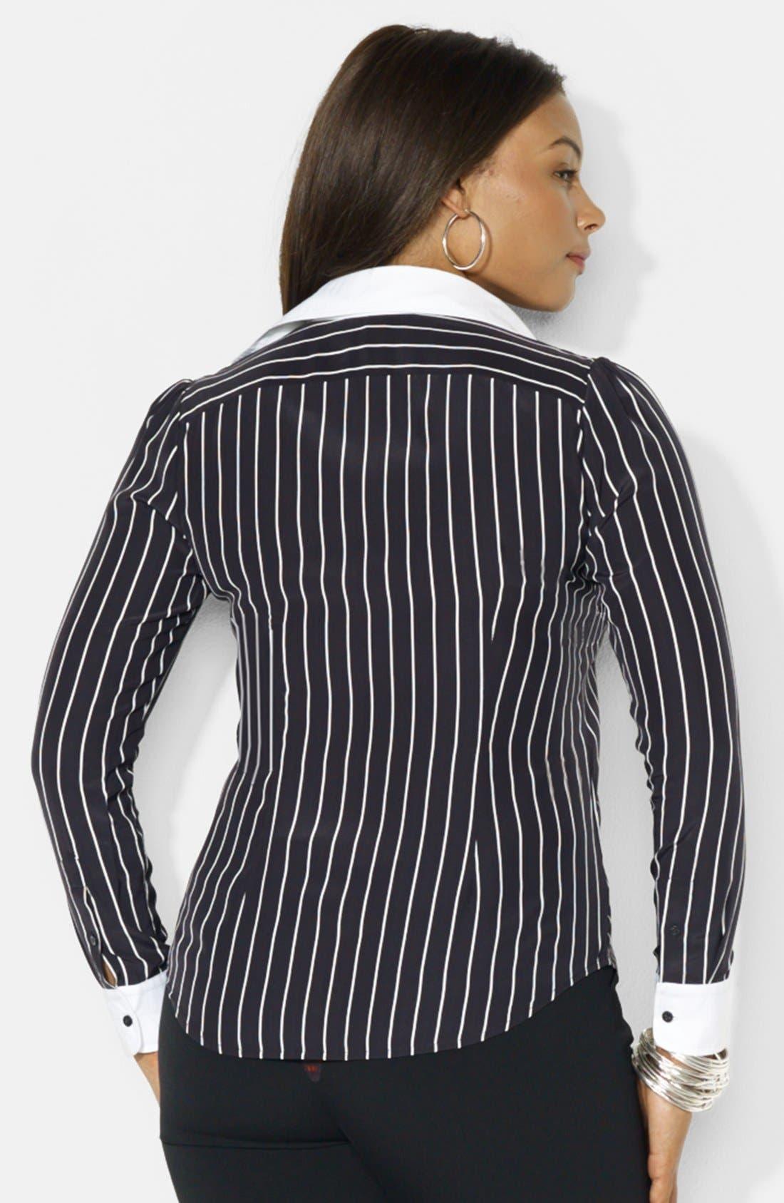 Alternate Image 2  - Lauren Ralph Lauren Long Sleeve Silk Shirt (Plus Size)