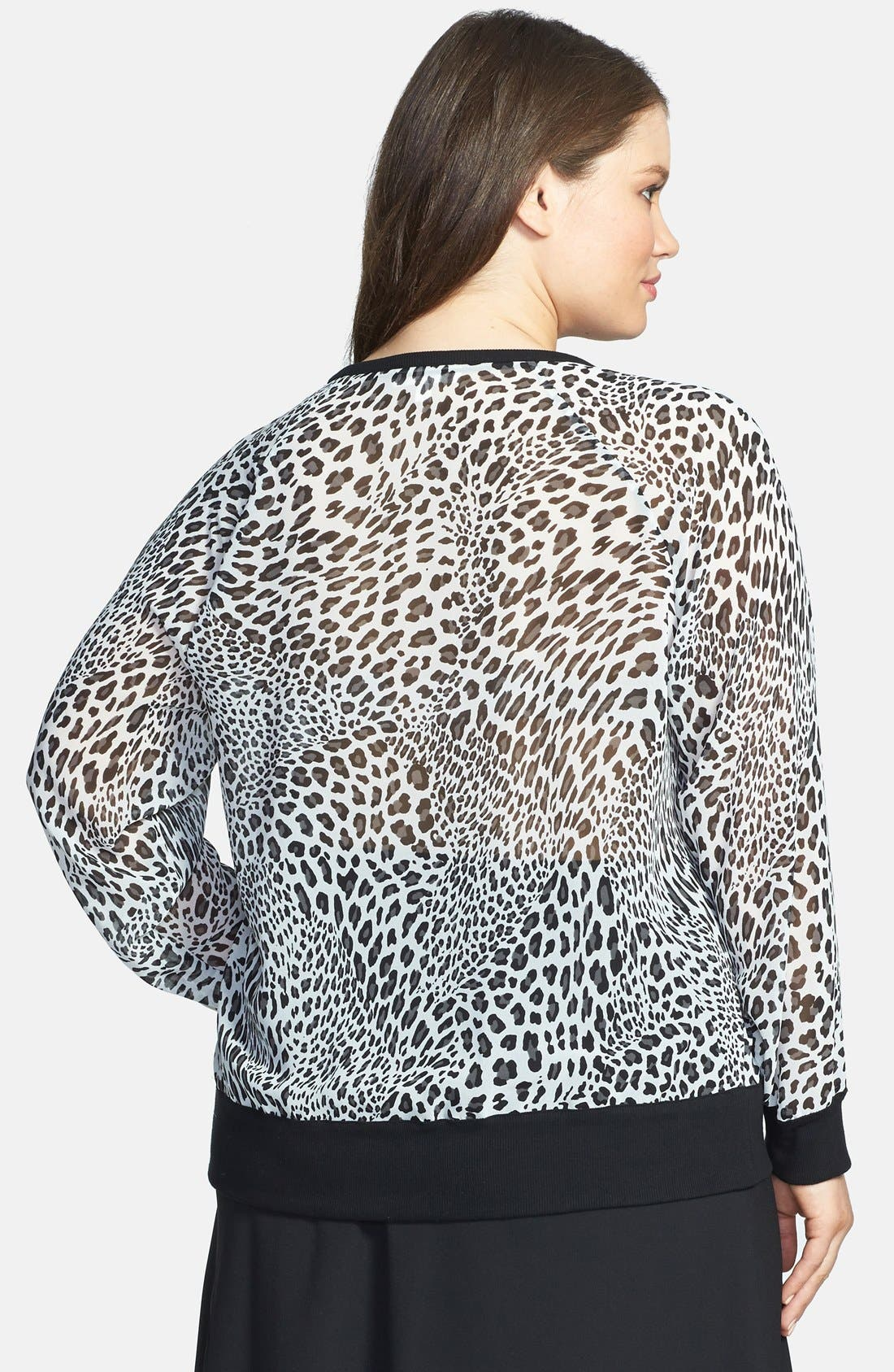 Alternate Image 2  - Two by Vince Camuto 'Leopard Stream' Batwing Sleeve Top (Plus Size)
