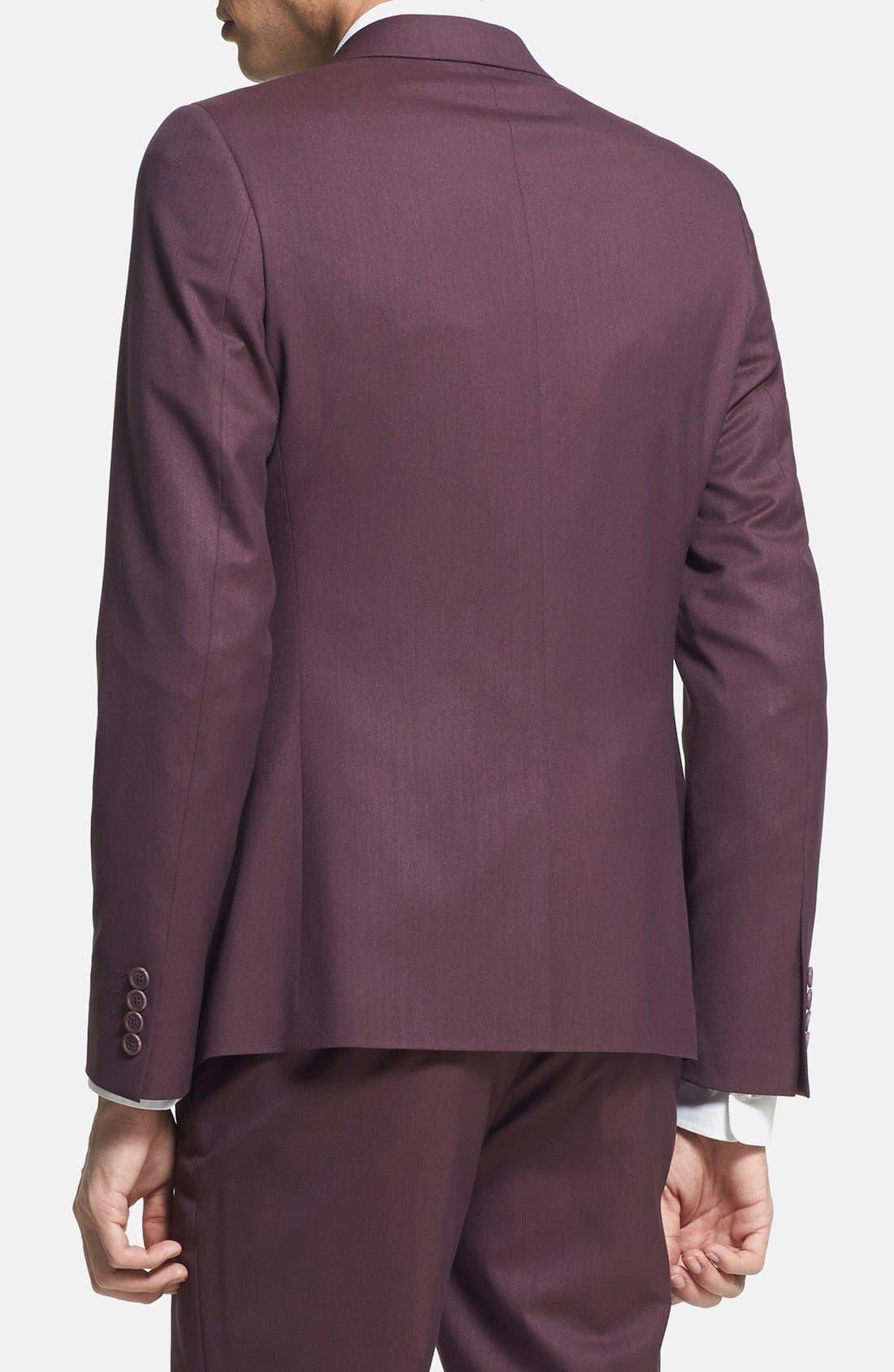 Alternate Image 2  - Topman Skinny Fit Burgundy Suit Jacket