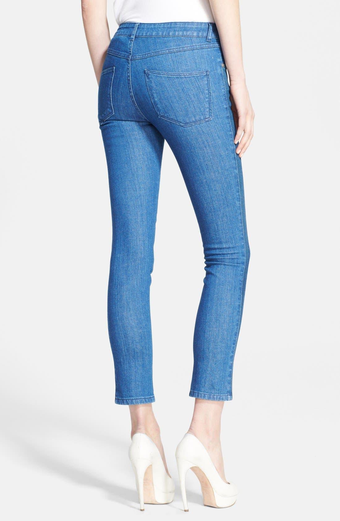 Alternate Image 2  - Alexander McQueen Tuxedo Stripe Crop Skinny Jeans