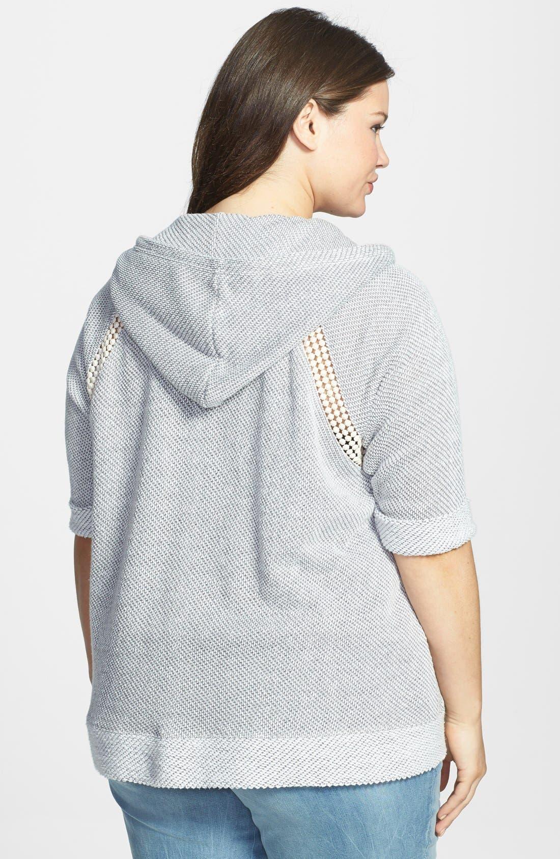 Alternate Image 2  - Lucky Brand Crochet Zip Hoodie (Plus Size)