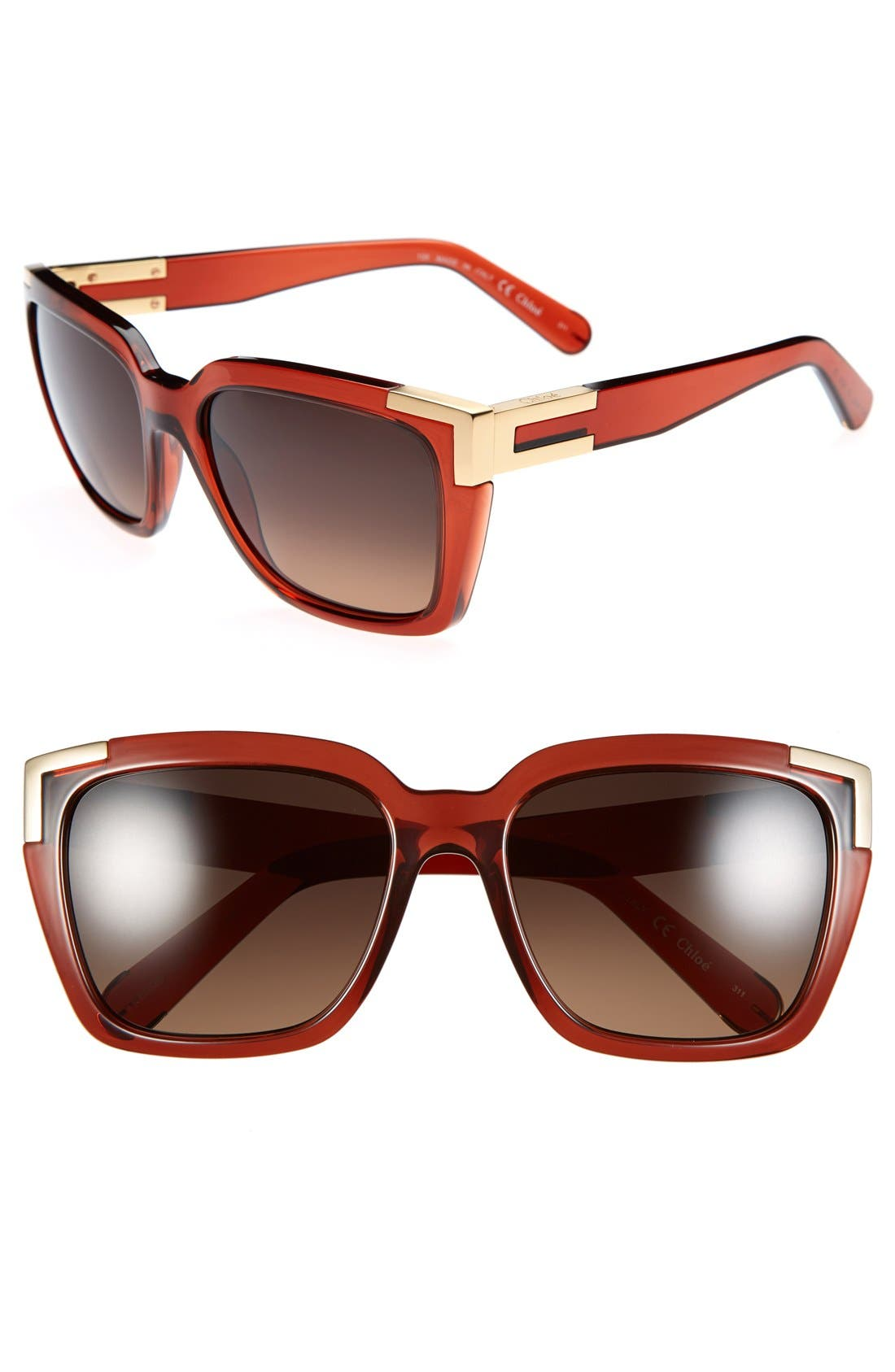 Main Image - Chloé 56mm Rectangle Sunglasses